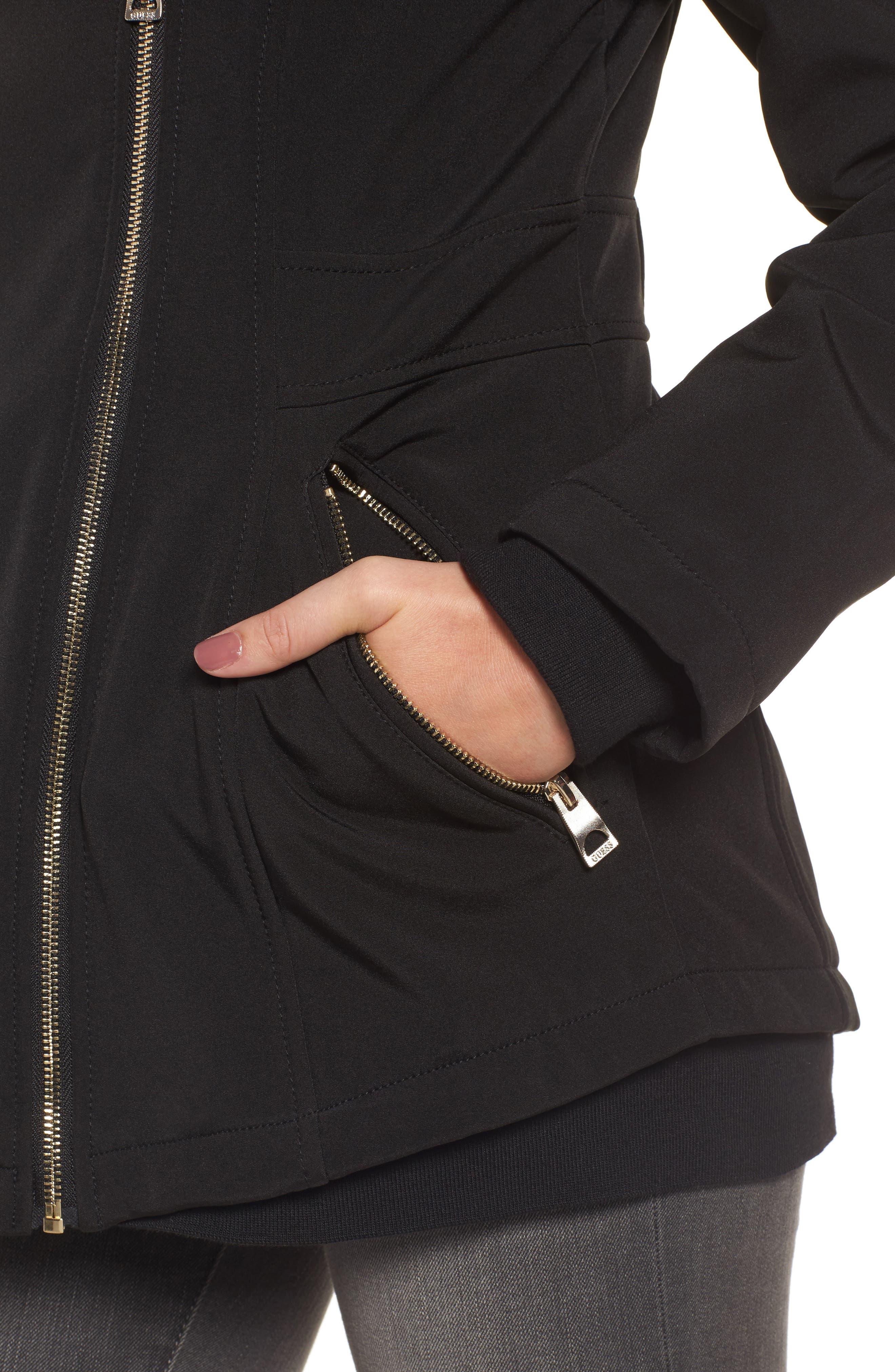 Asymmetrical Soft Shell Coat,                             Alternate thumbnail 4, color,                             001