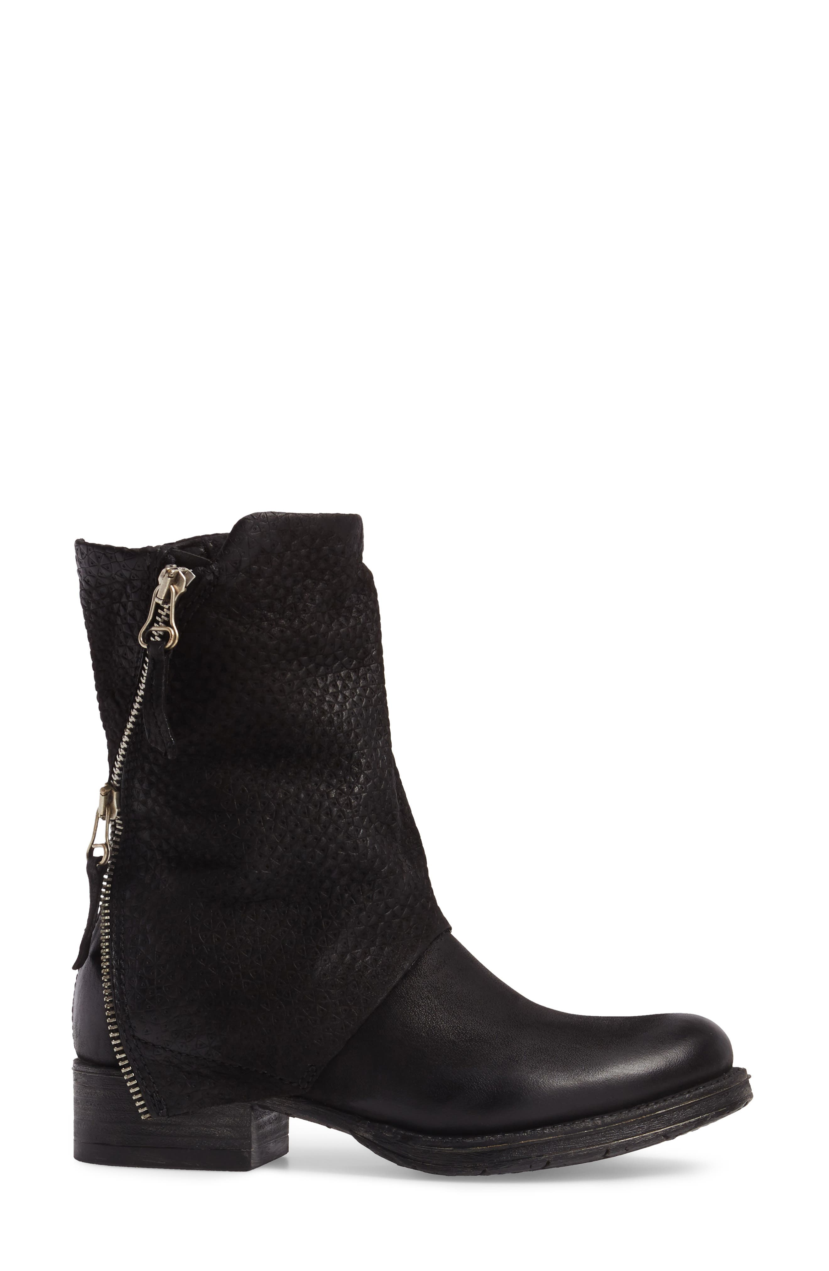 Nugget Asymmetrical Textured Boot,                             Alternate thumbnail 3, color,                             001