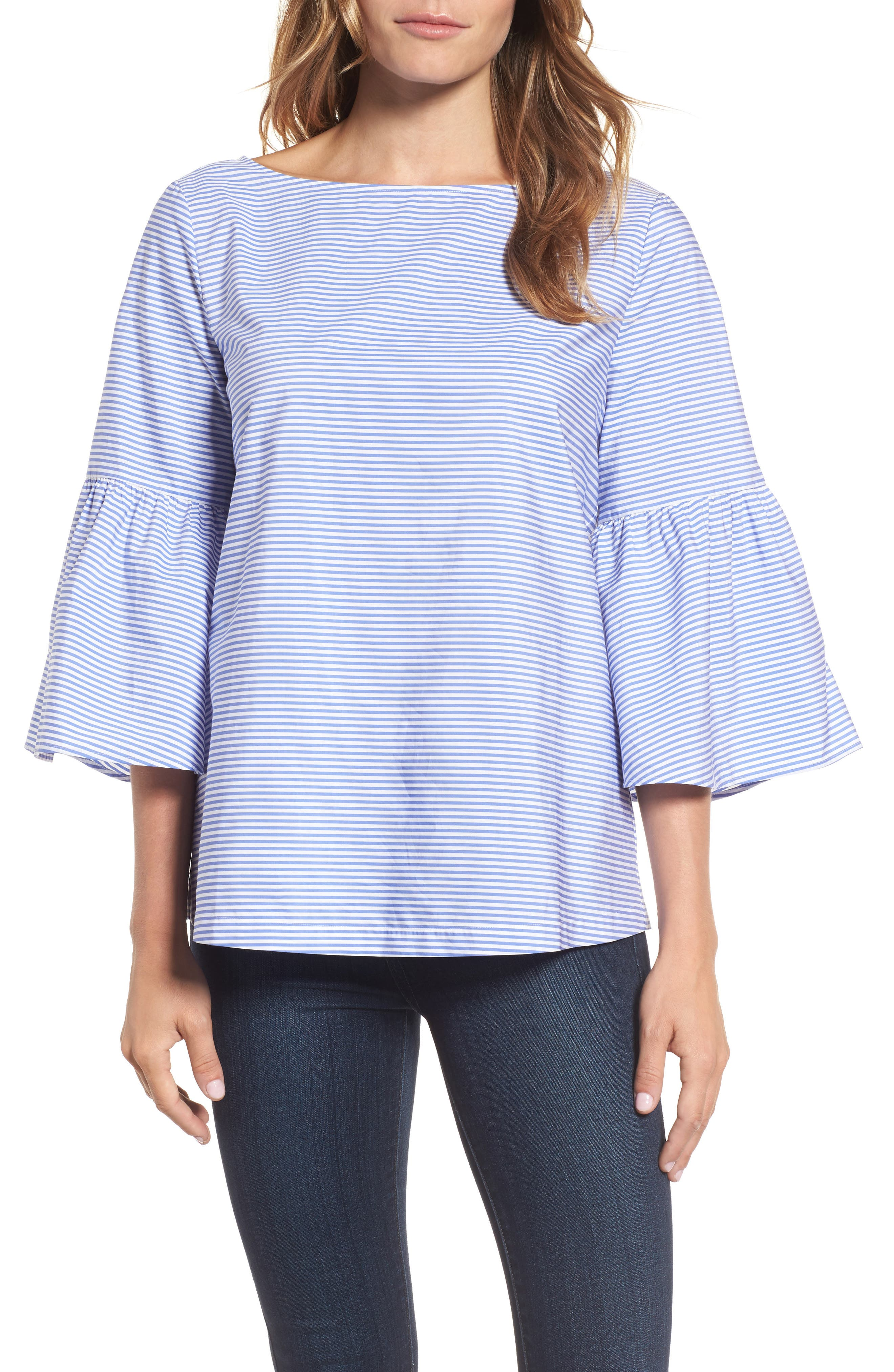 Bell Sleeve Bow Back Top,                             Main thumbnail 1, color,                             420