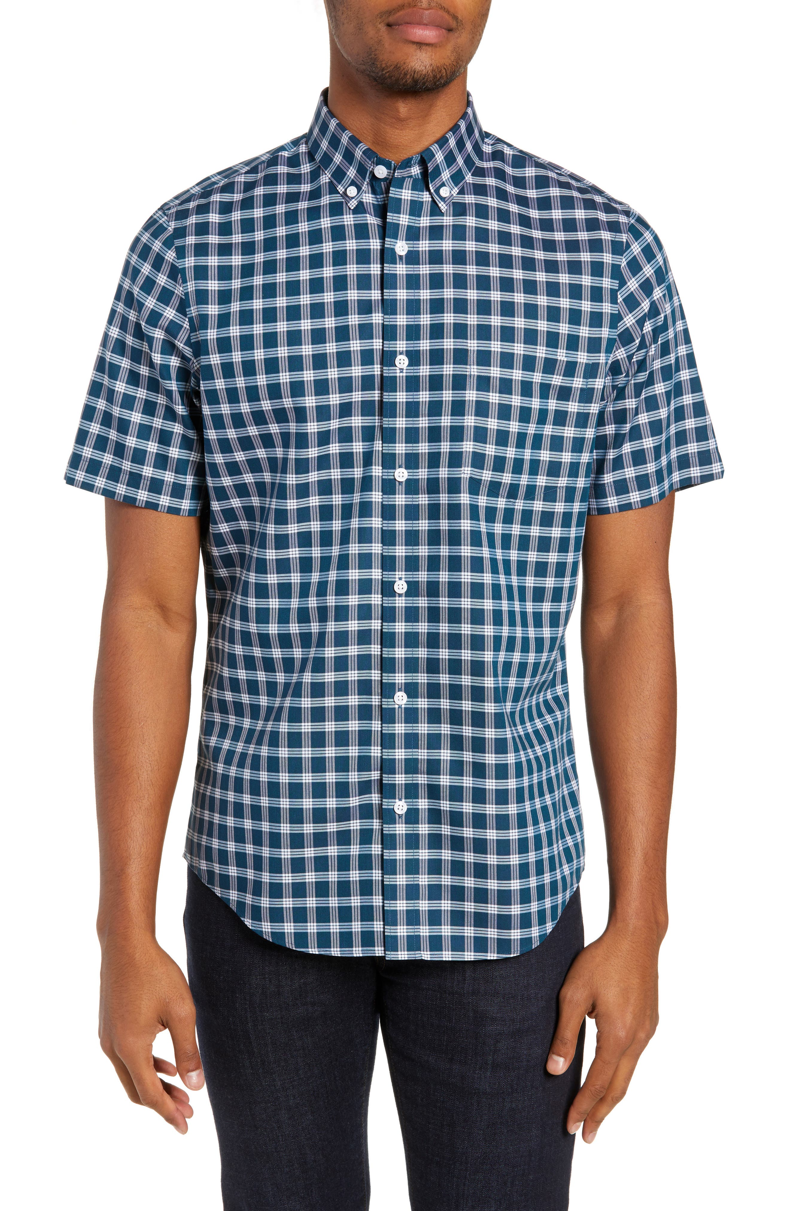 Smartcare<sup>™</sup> Slim Fit Check Sport Shirt, Main, color, TEAL GLOSS WHITE CHECK