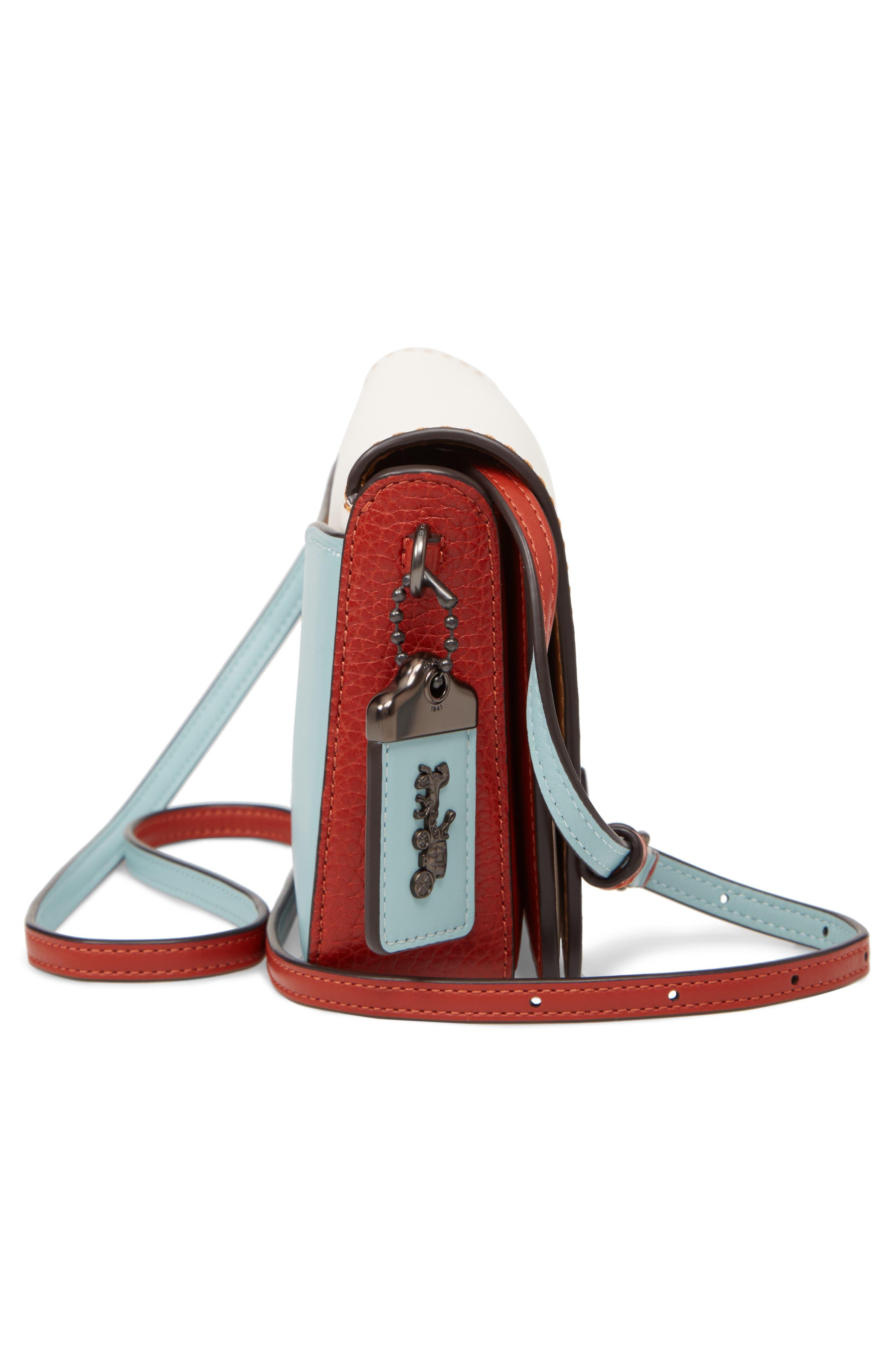 Dinky Colorblock Leather Crossbody Bag,                             Alternate thumbnail 5, color,                             CHALK MULTI