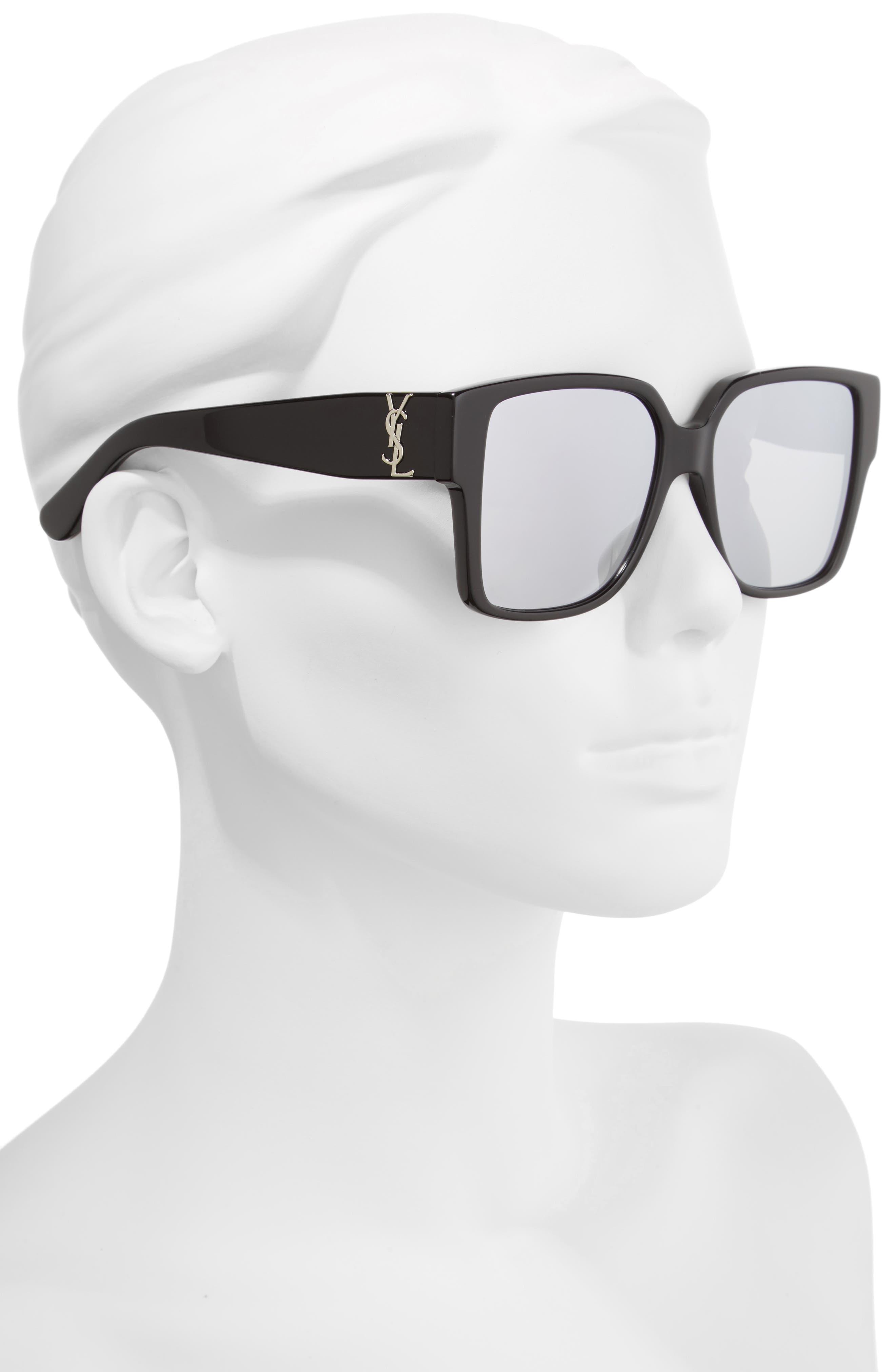 55mm Square Sunglasses,                             Alternate thumbnail 2, color,                             001