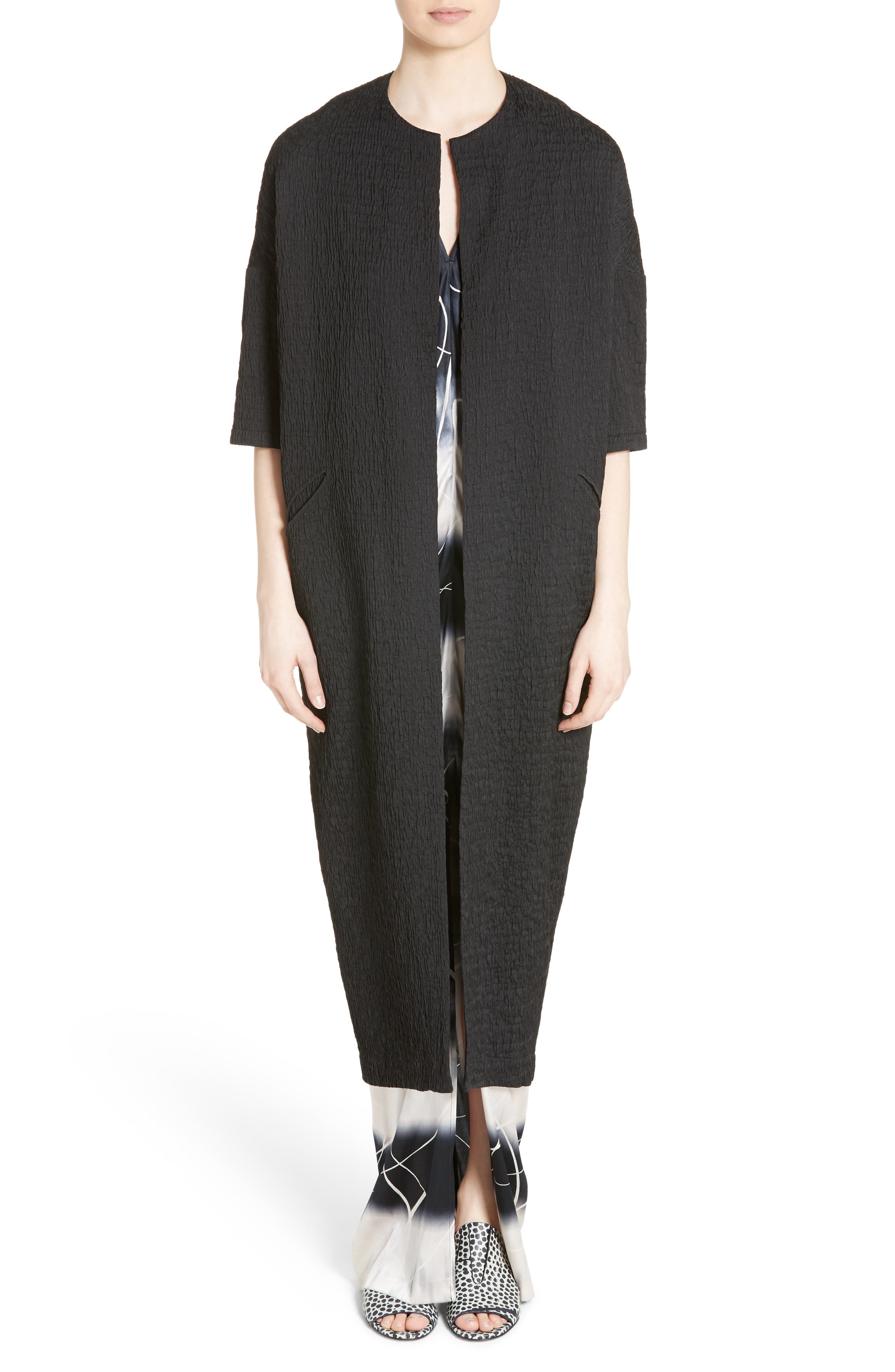 Kou Elliott X-Ray Stretch Silk Dress,                             Alternate thumbnail 6, color,                             100