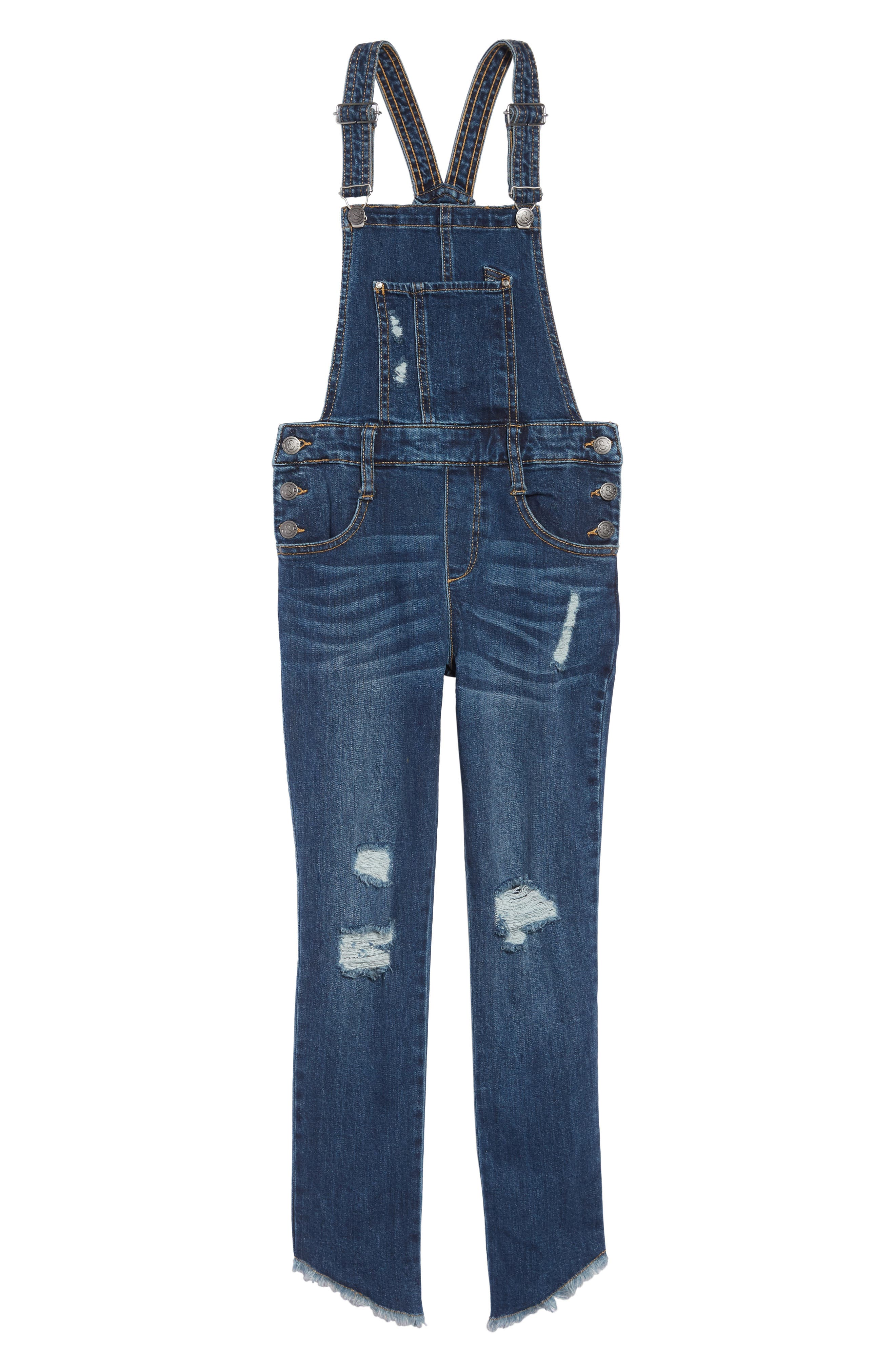 Girls Treasure  Bond Asymmetrical Hem Overalls Size 10  Blue