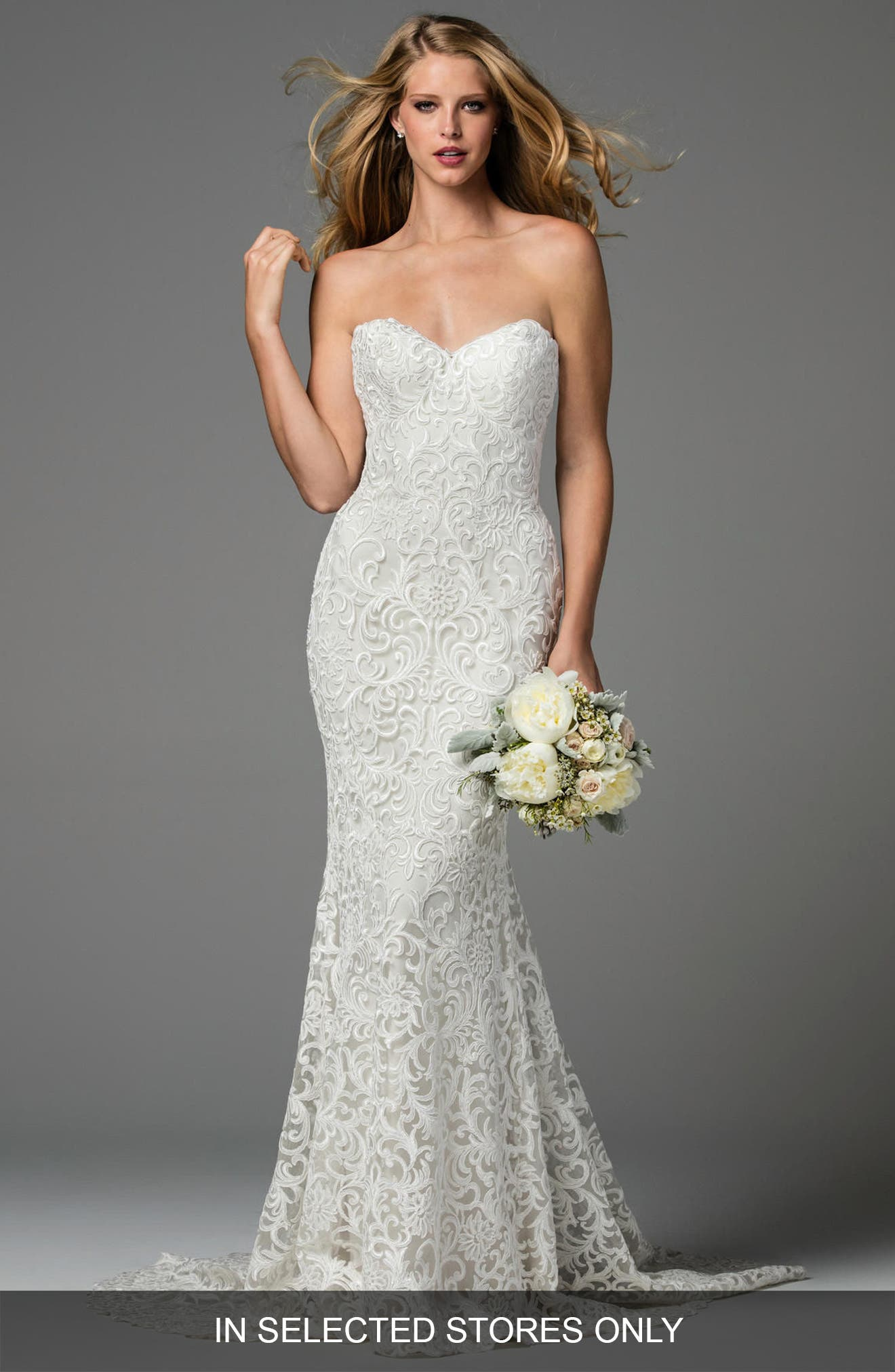 Pauline Strapless Lace Mermaid Gown,                             Alternate thumbnail 3, color,                             IVORY/ OYSTER