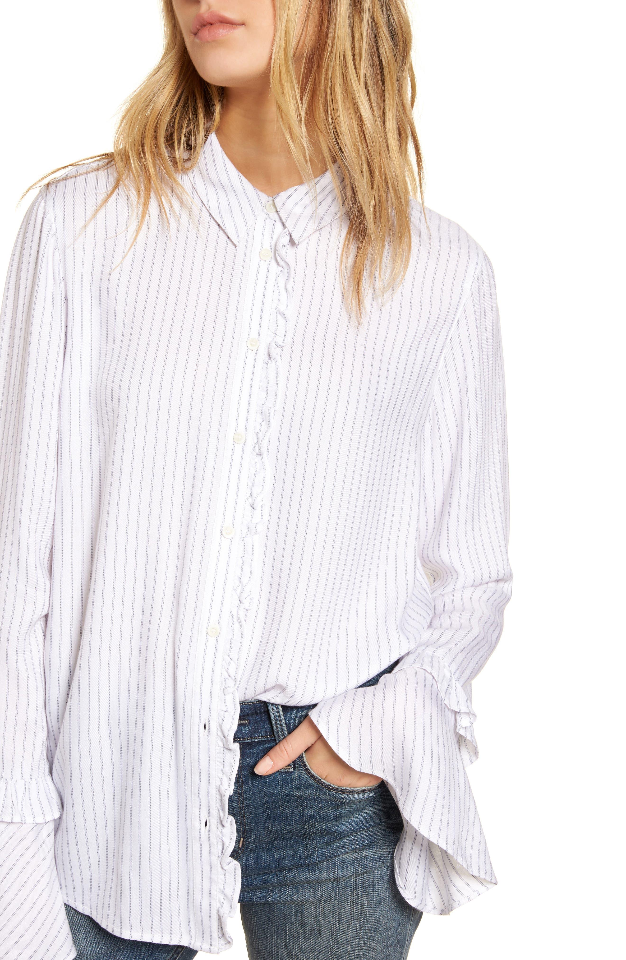Bell Sleeve Shirt,                             Alternate thumbnail 4, color,                             100