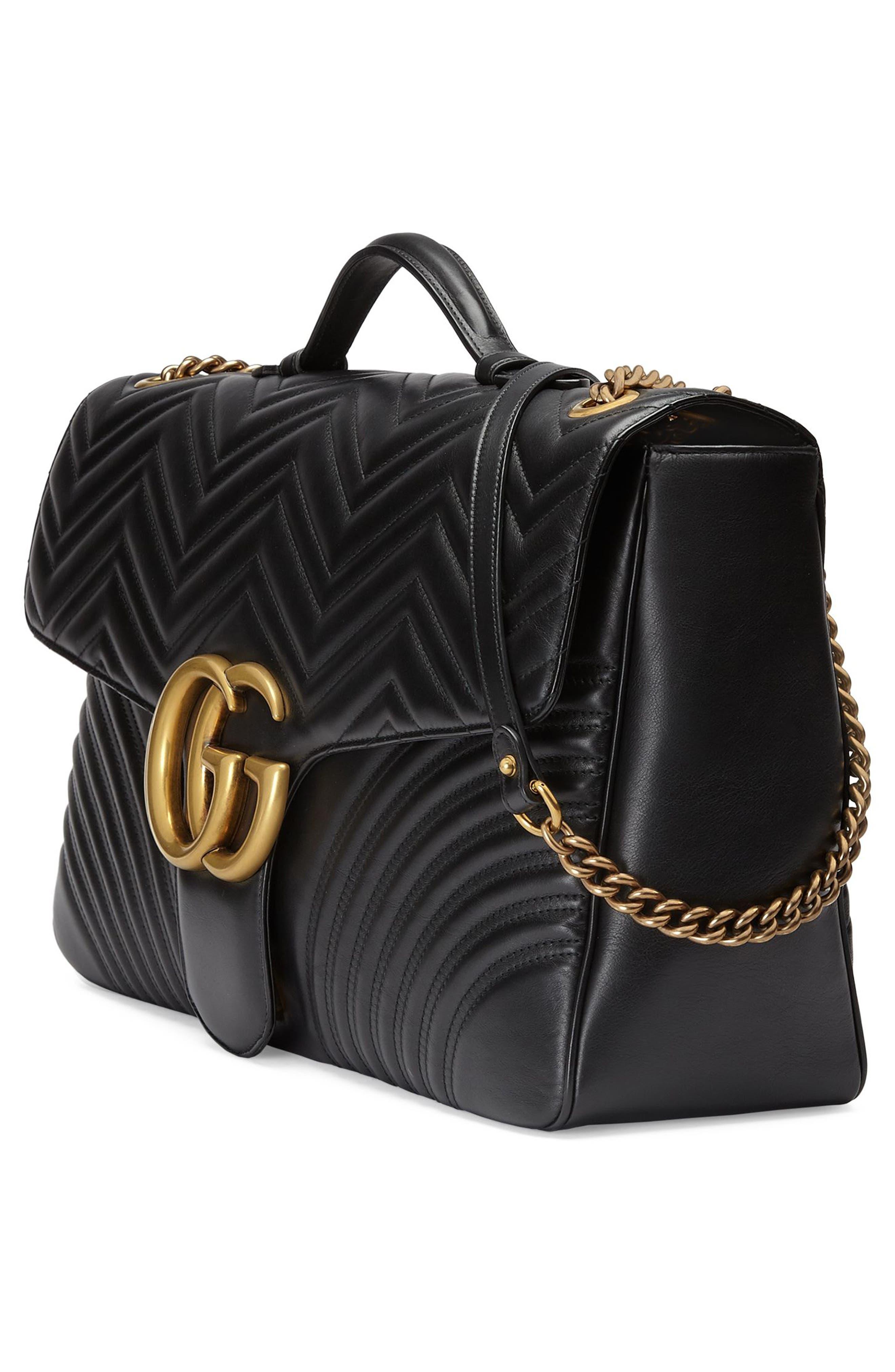 GG Marmont Maxi Matelassé Top Handle Shoulder Bag,                             Alternate thumbnail 3, color,                             001