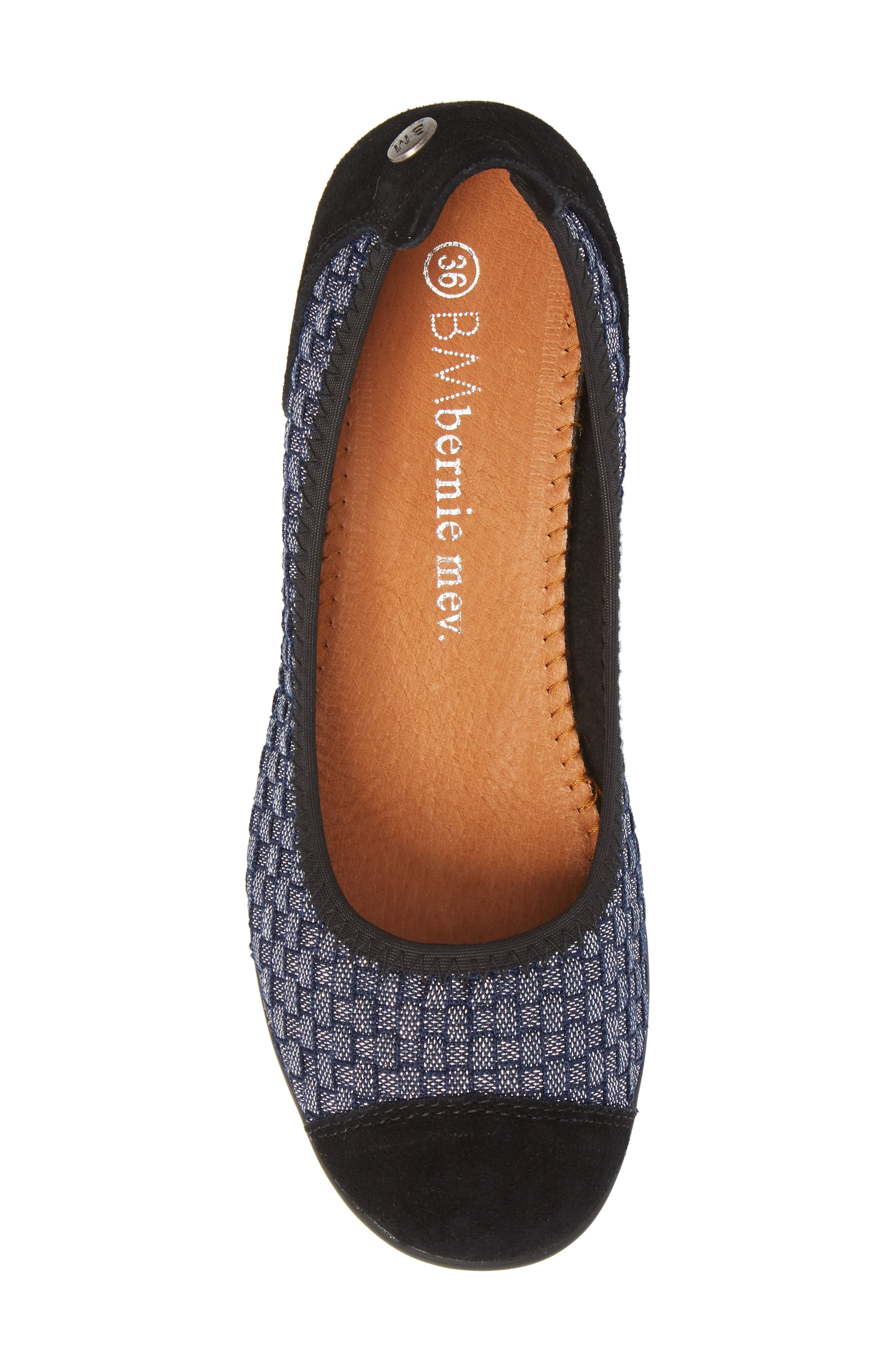 'Bella Me' Woven Flat,                             Alternate thumbnail 5, color,                             NAVY SHIMMER FABRIC