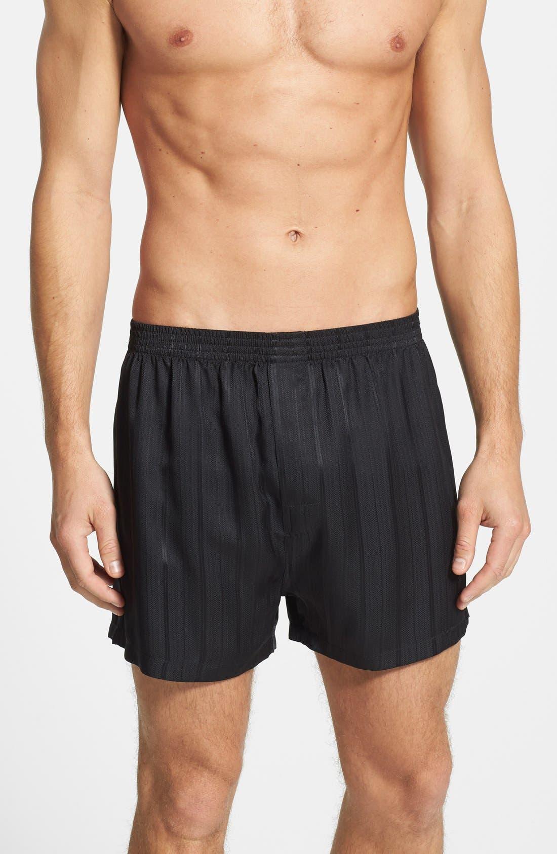 Herringbone Stripe Silk Boxer Shorts,                         Main,                         color, NIGHT