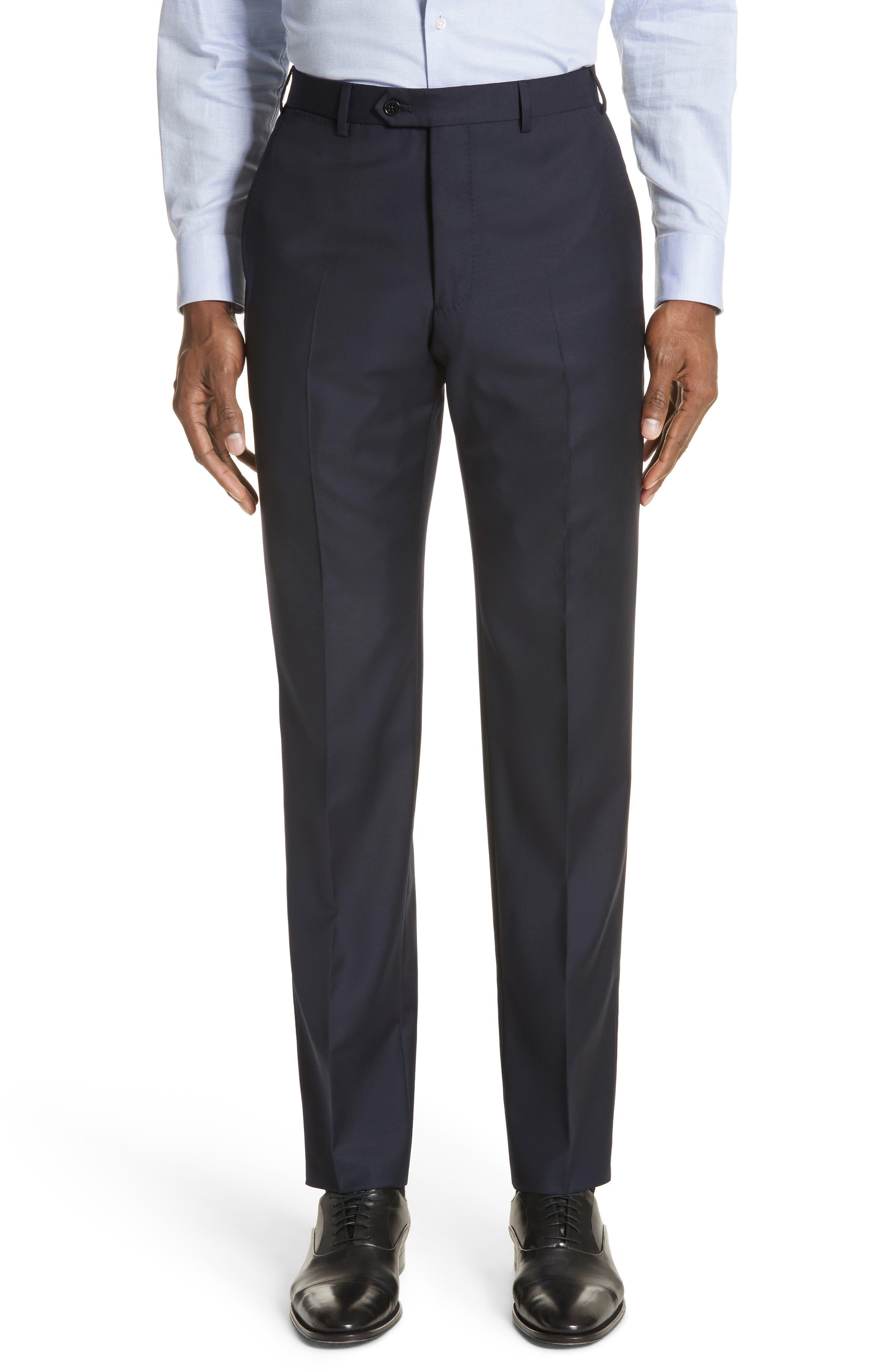 Trim Fit Solid Wool Suit,                             Alternate thumbnail 18, color,