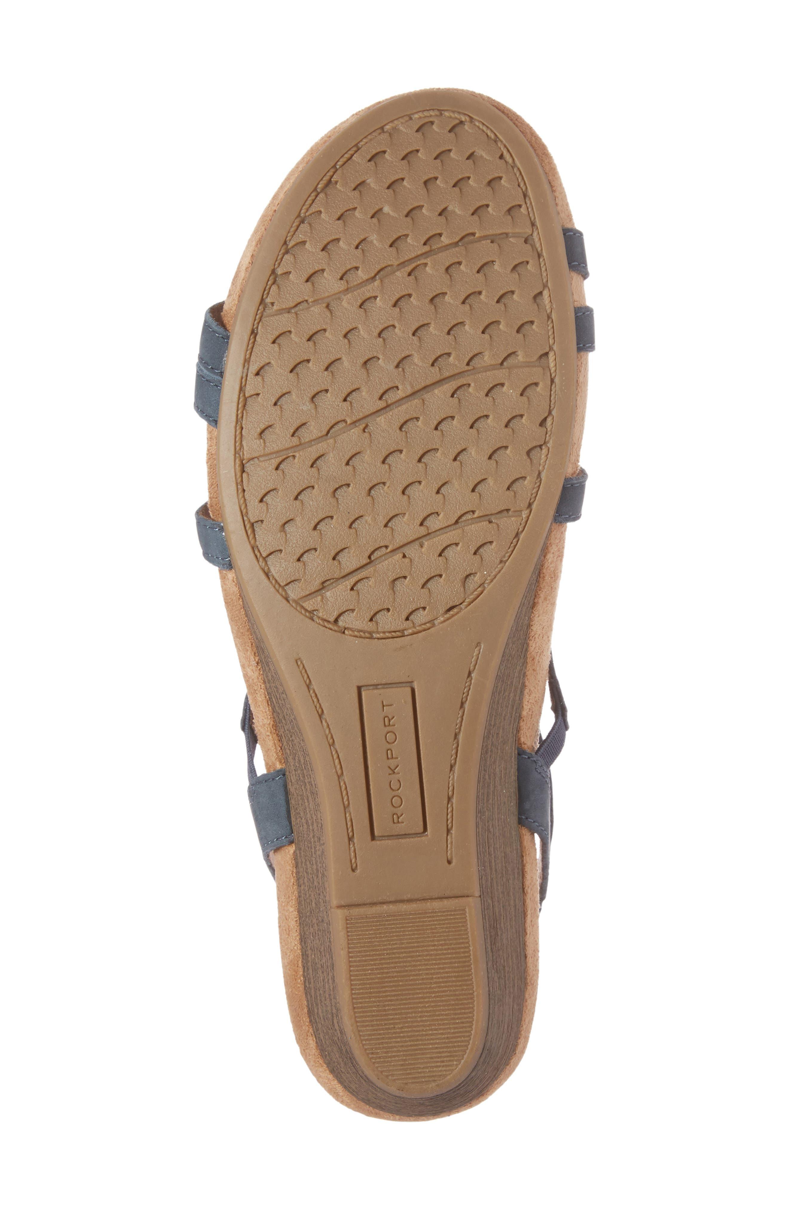 'Hannah' Leather Sandal,                             Alternate thumbnail 6, color,                             BLUE NUBUCK