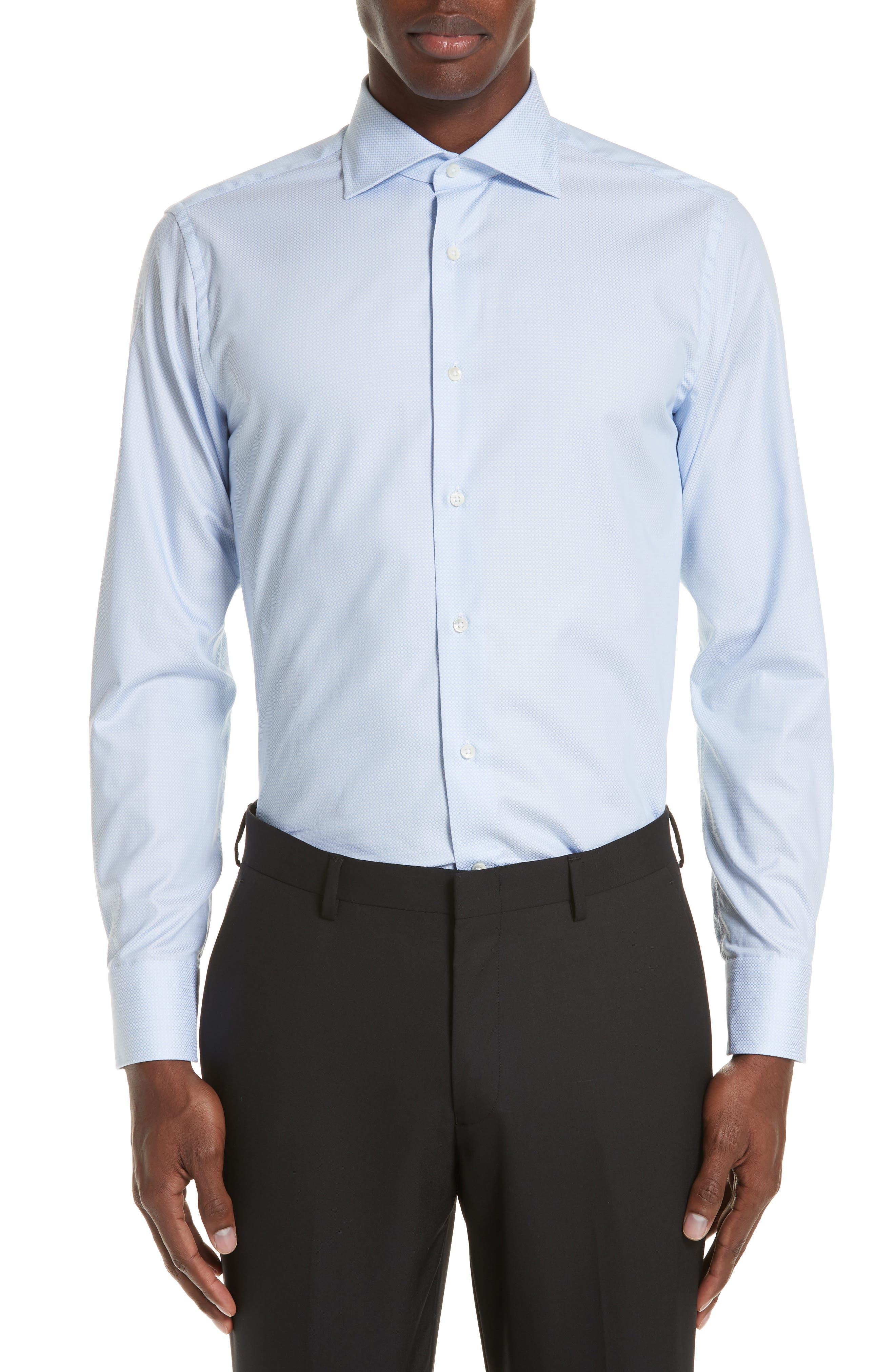 Trim Fit Geometric Dress Shirt,                             Main thumbnail 1, color,                             LIGHT BLUE