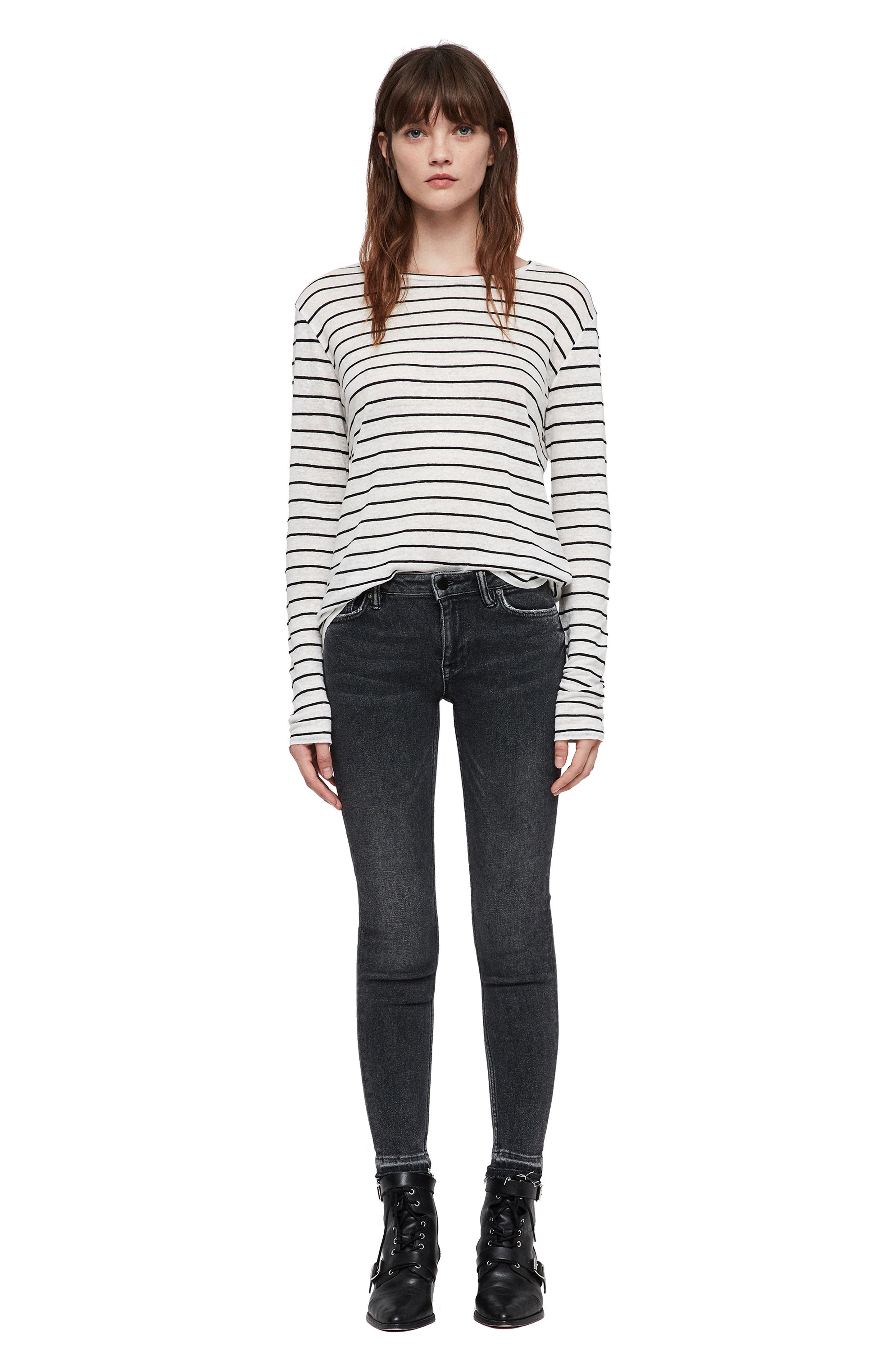 Mast Ankle Skinny Jeans,                             Alternate thumbnail 5, color,                             WASHED BLACK
