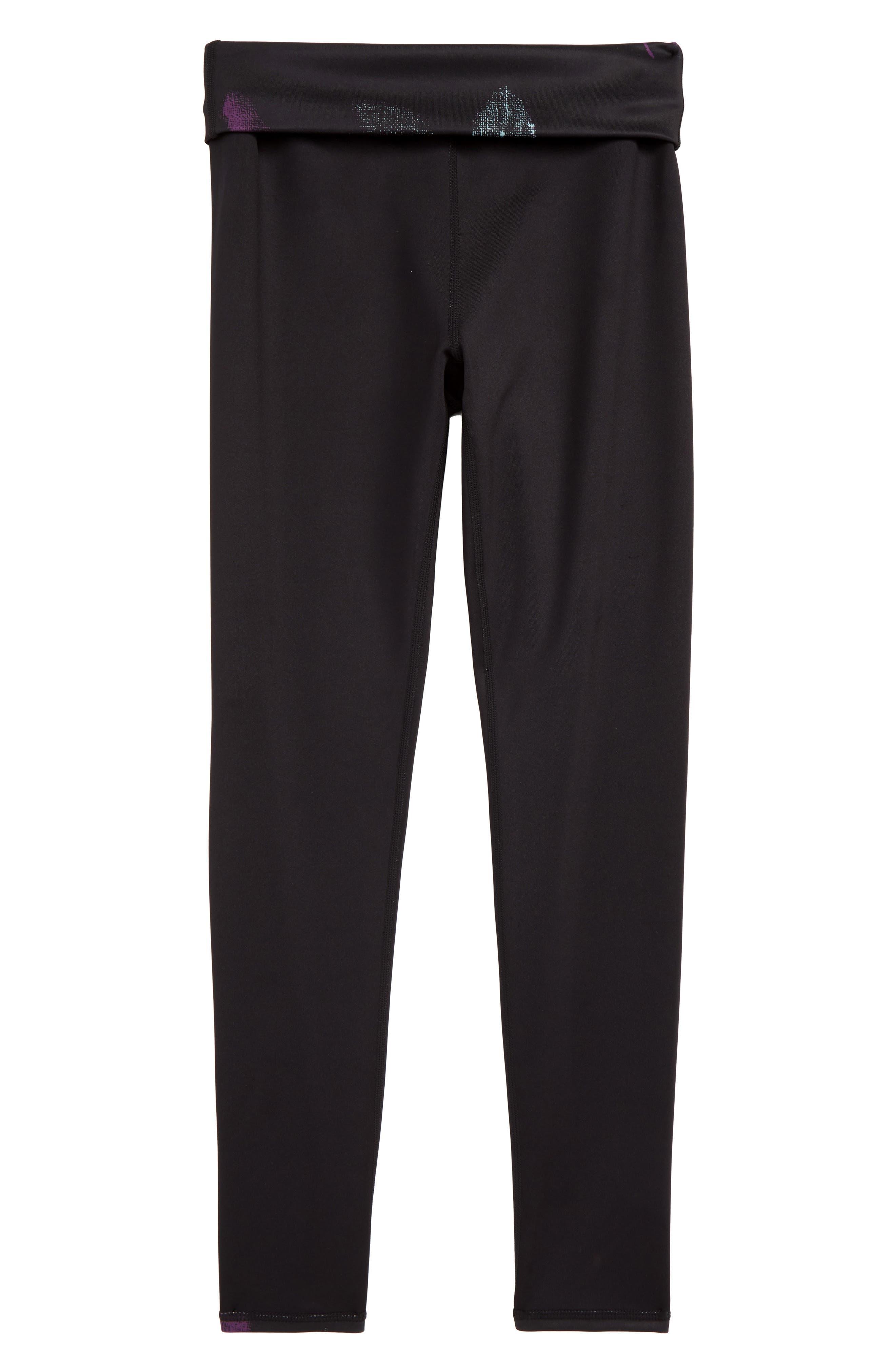 Fold-Over Reversible Leggings,                             Alternate thumbnail 2, color,                             BLACK DARK FLORAL