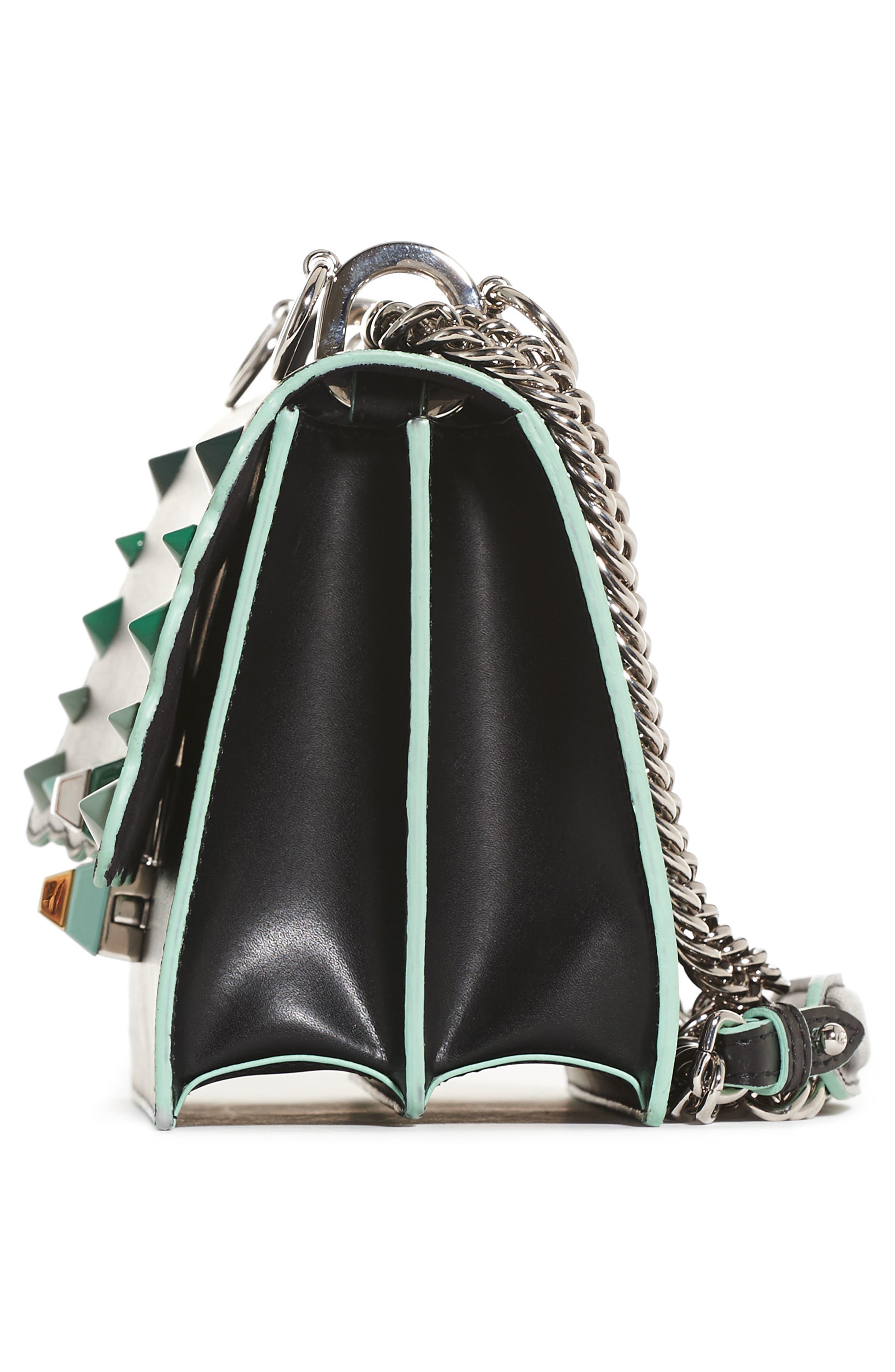 Mini Kan I Dégradé Stud Calfskin Shoulder Bag,                             Alternate thumbnail 5, color,                             BLACK/GREEN MULTI