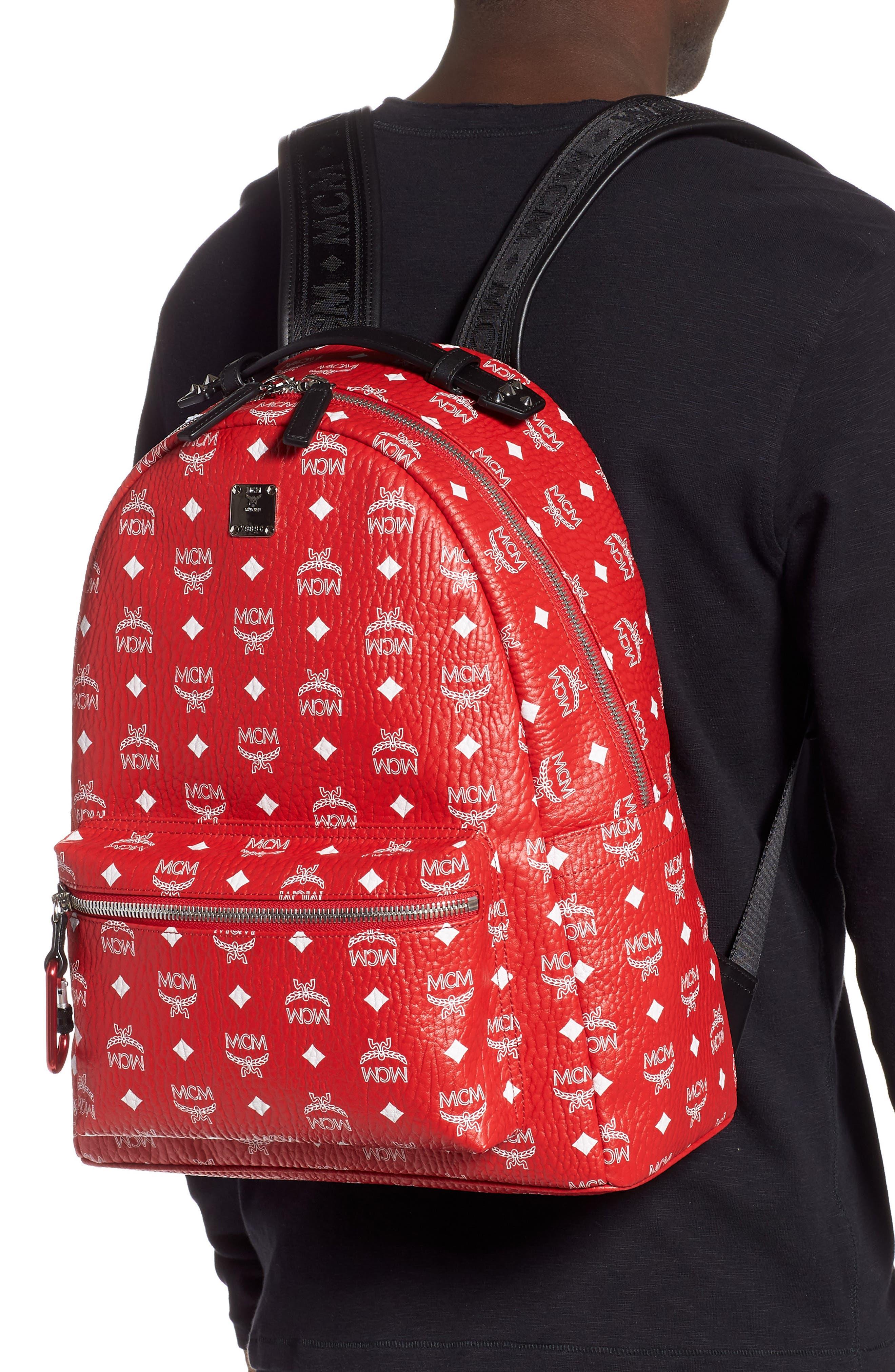 Stark Visetos Faux Leather Backpack,                             Alternate thumbnail 2, color,                             WHITE