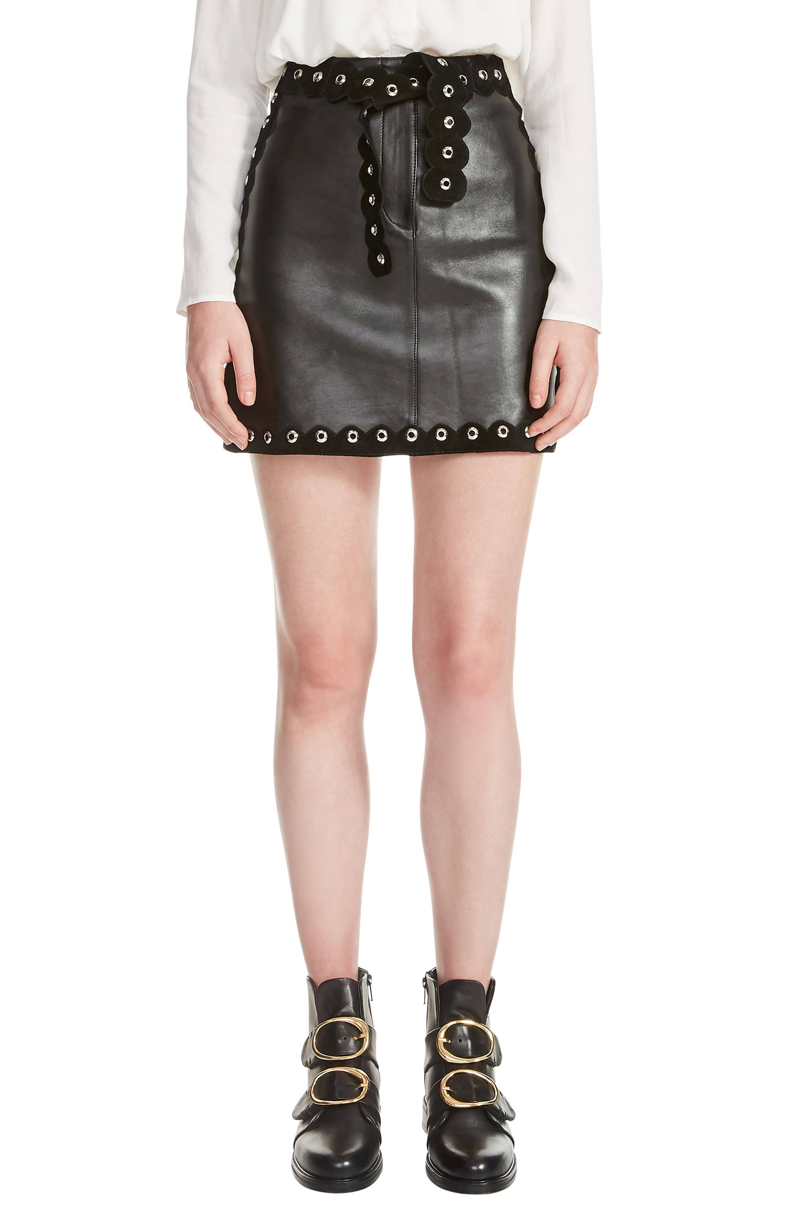 Jarisco Leather Miniskirt,                         Main,                         color,