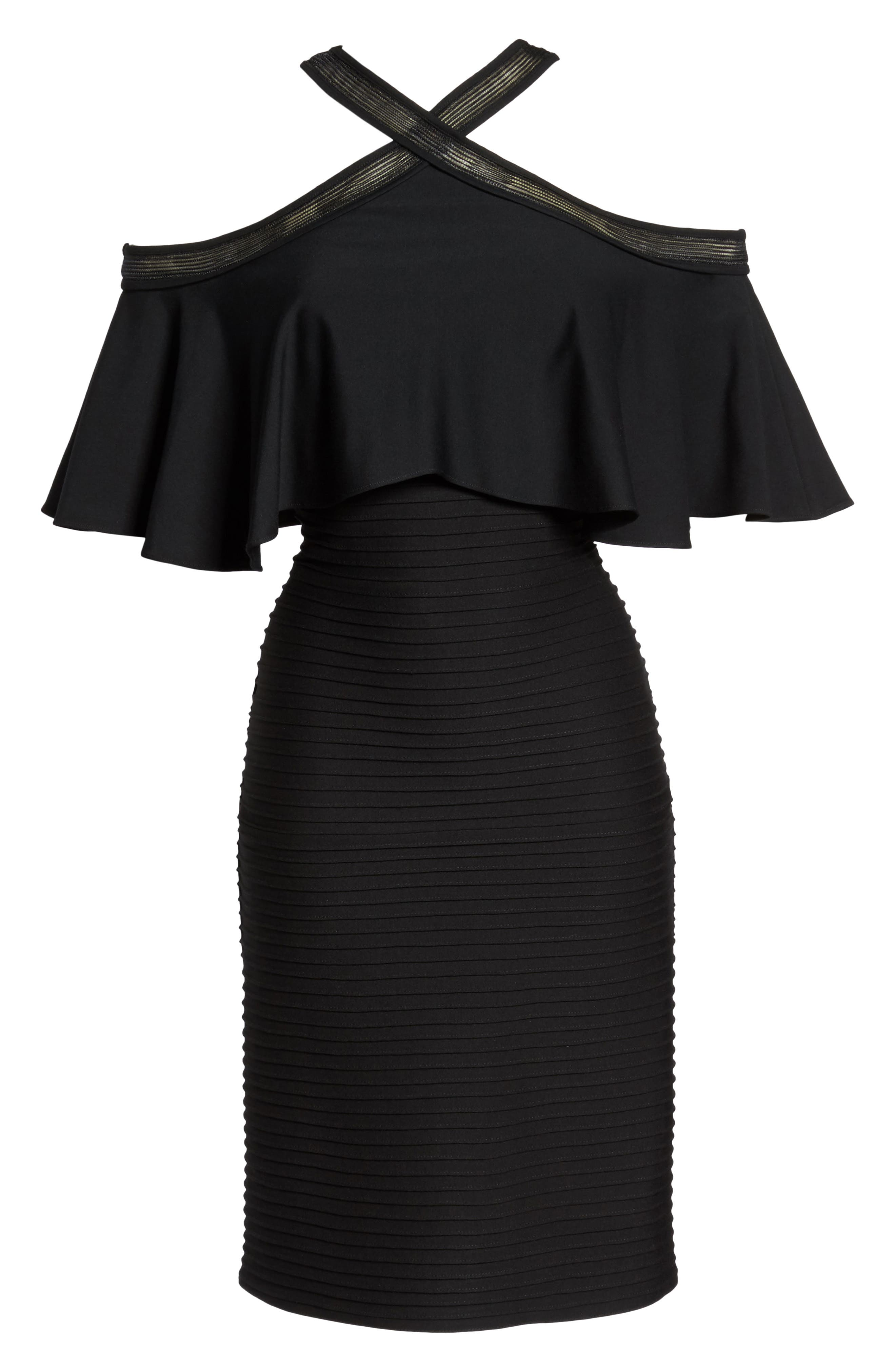 Pintuck Cold Shoulder Dress,                             Alternate thumbnail 6, color,                             001
