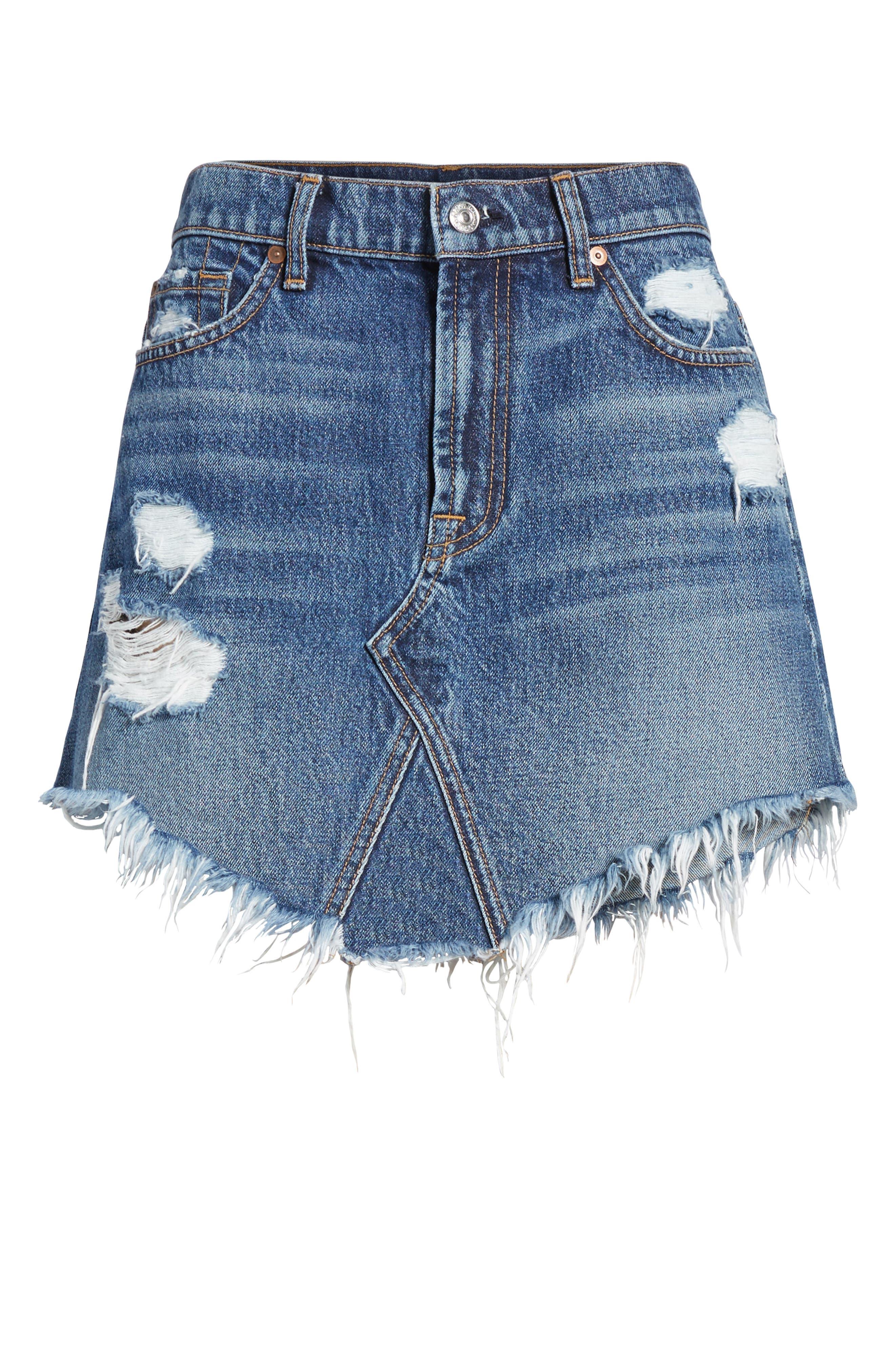 Denim Miniskirt,                             Alternate thumbnail 6, color,                             400