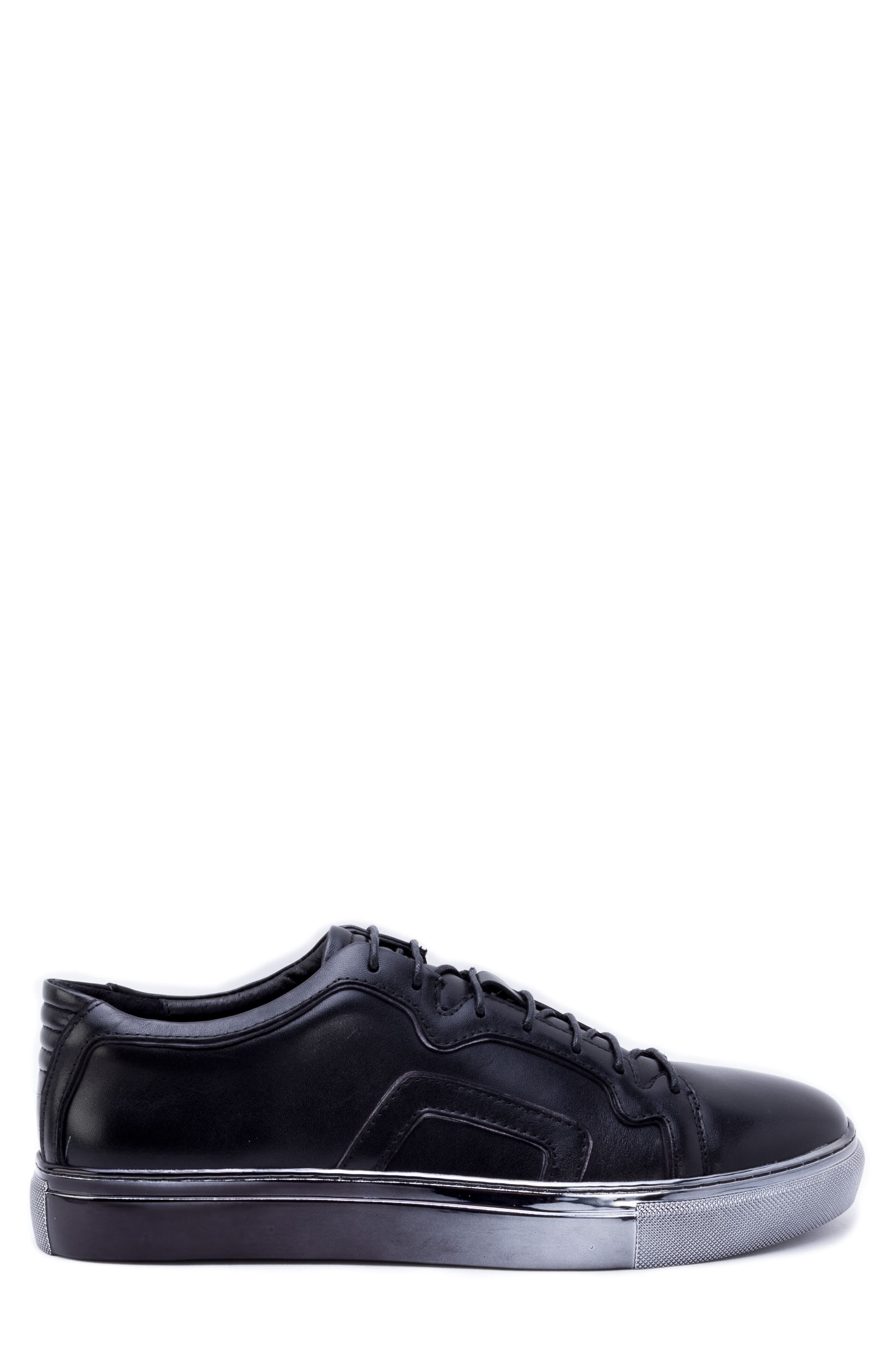 Caine Sneaker,                             Alternate thumbnail 3, color,                             BLACK LEATHER