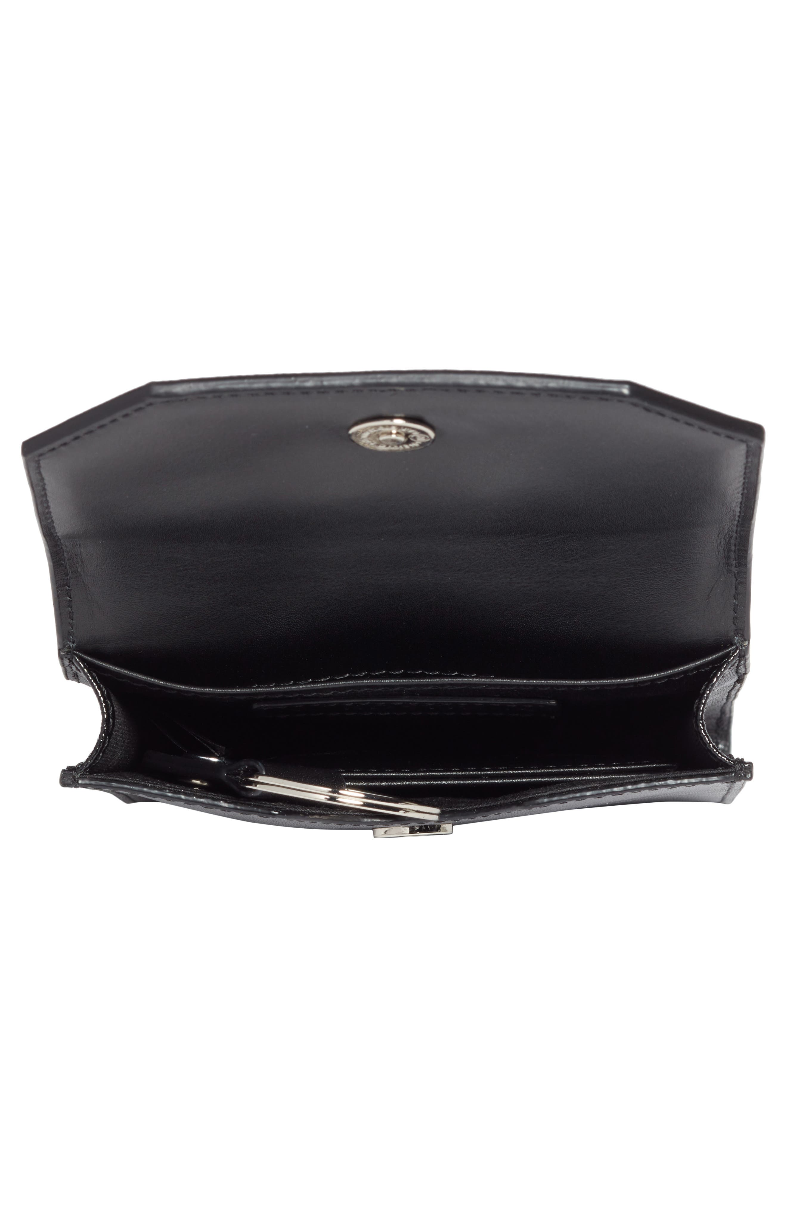 Leather Phone Crossbody Bag,                             Alternate thumbnail 4, color,                             BLACK