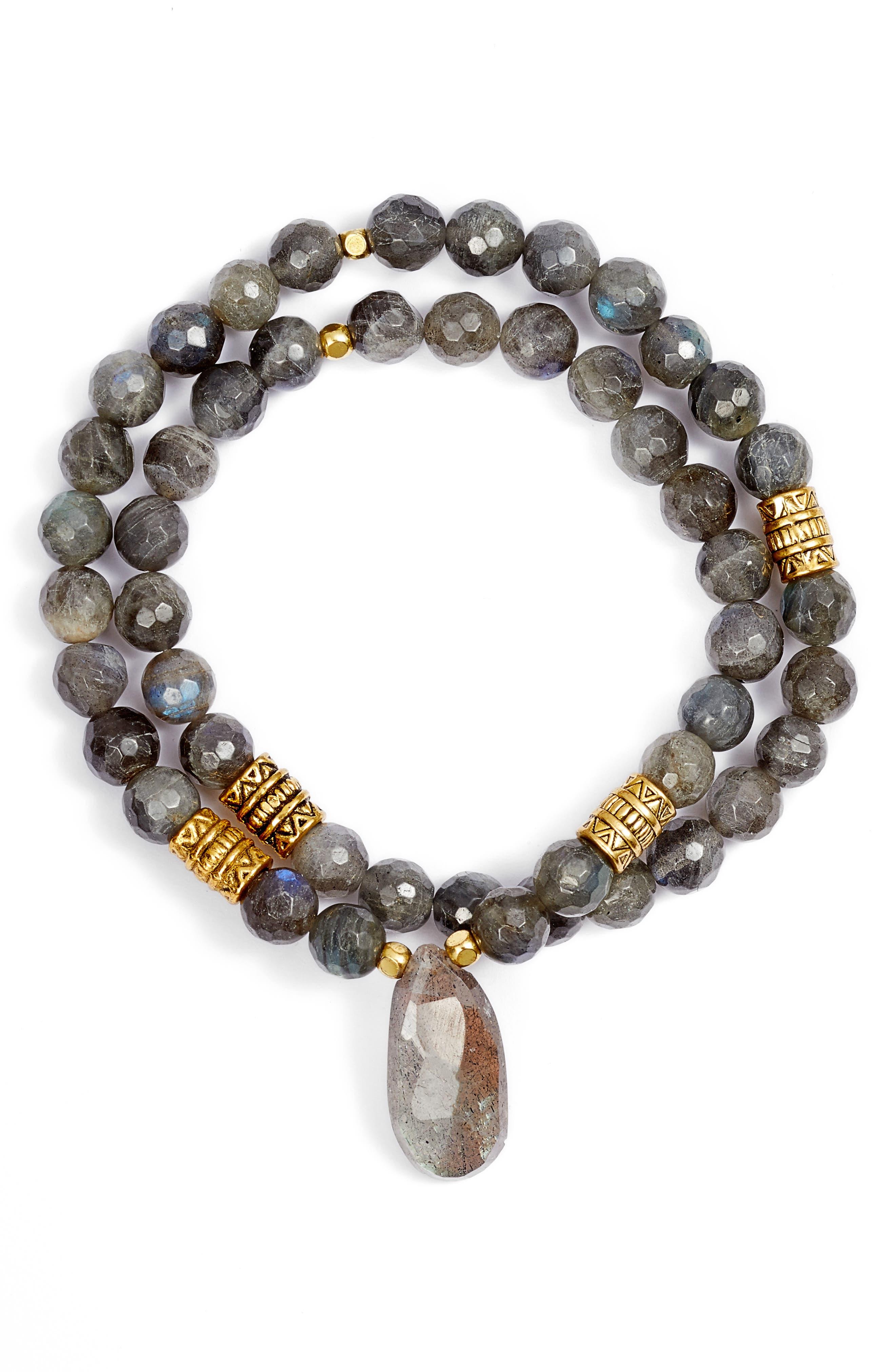 Inca Double Stretch Stone Bracelet,                             Main thumbnail 1, color,