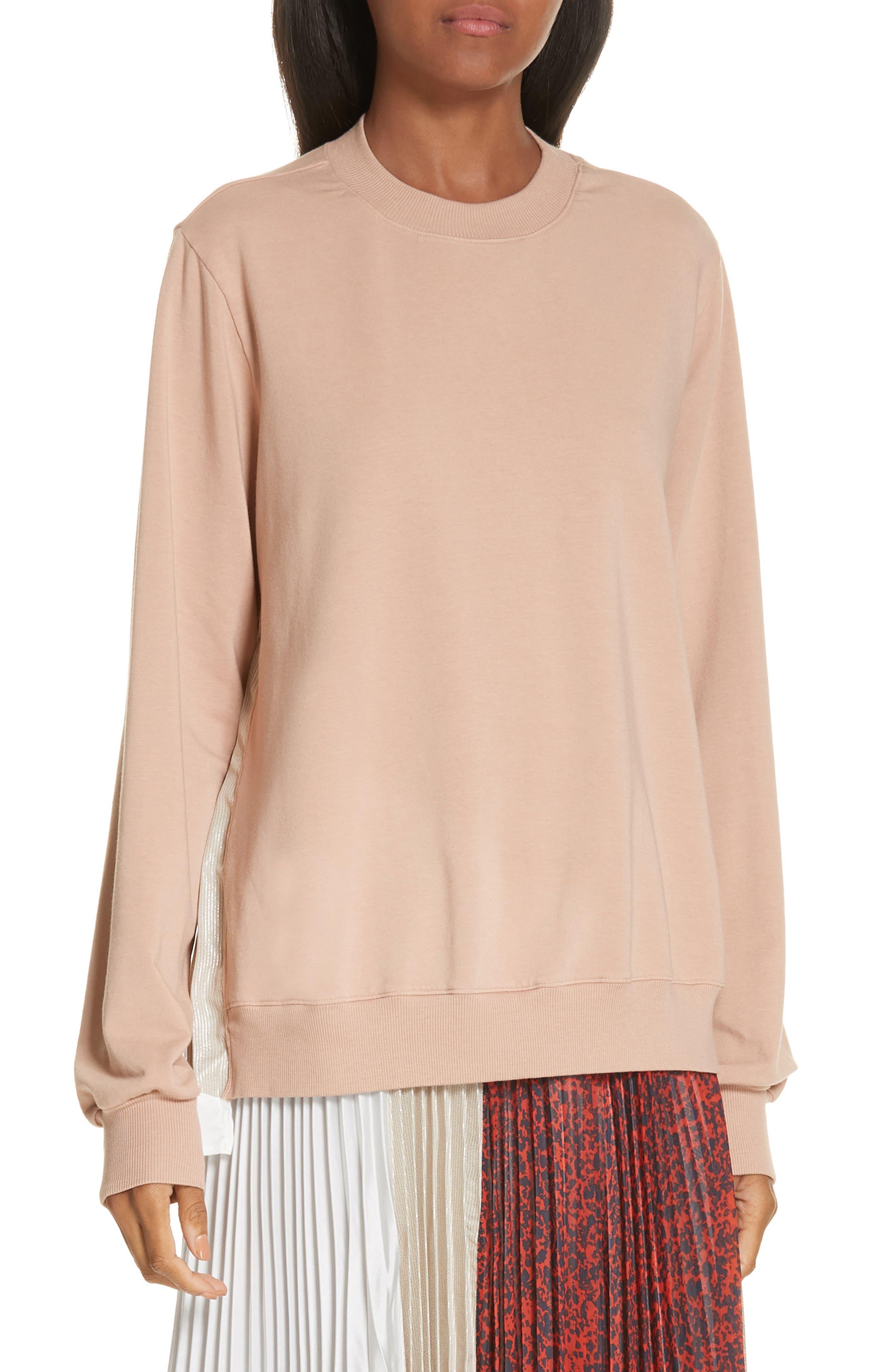 Mix Media Pleat Panel Sweatshirt,                         Main,                         color, BEIGE