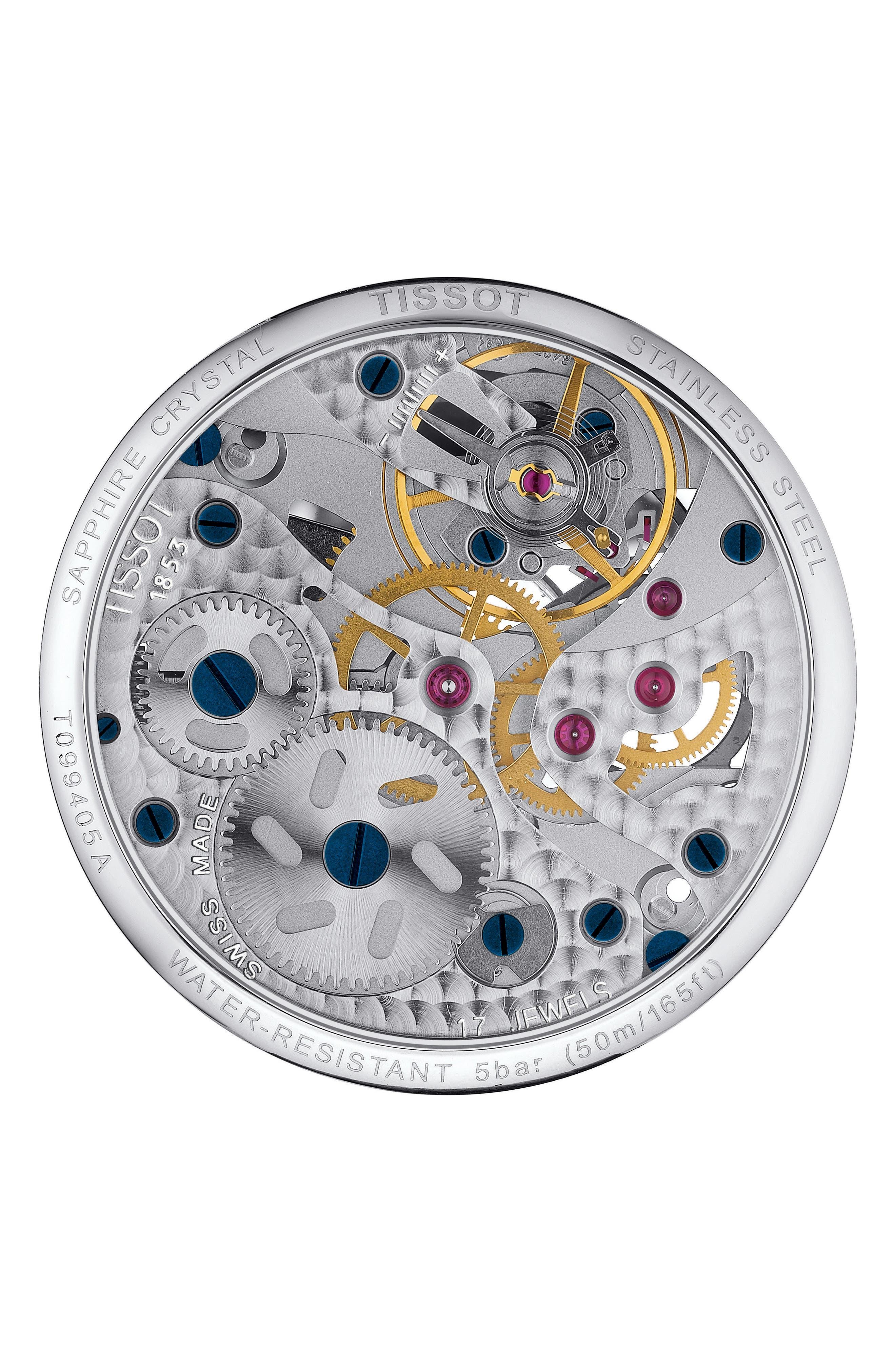 T-Complication Squellette Mechanical Watch, 42mm,                             Alternate thumbnail 2, color,                             BLACK/ SILVER