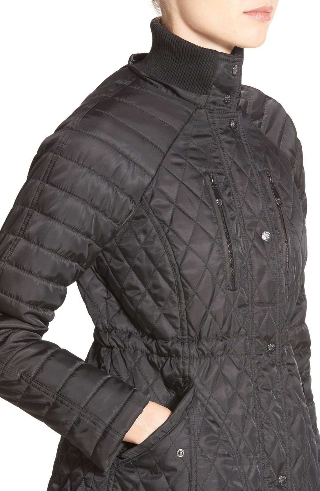 DetachableHood Quilted Anorak,                             Alternate thumbnail 4, color,                             001