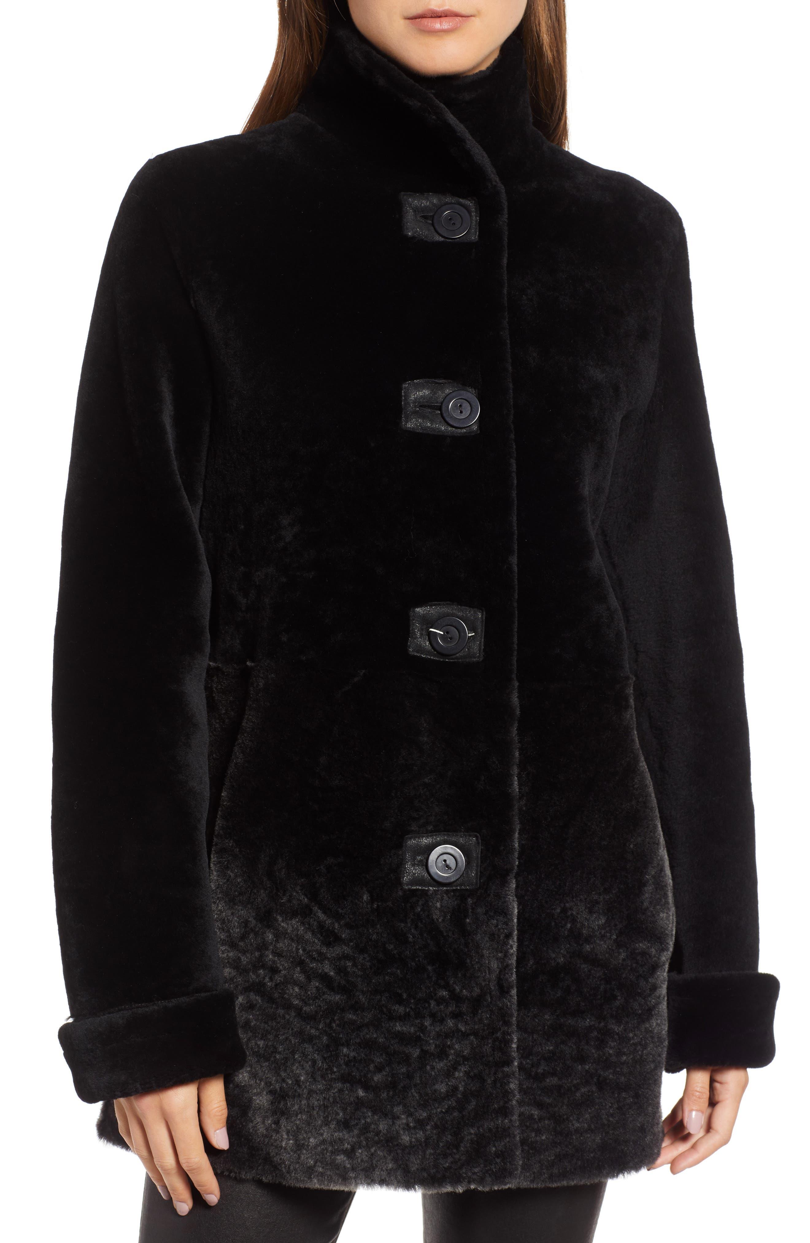 Genuine Shearling Coat,                             Alternate thumbnail 4, color,                             003