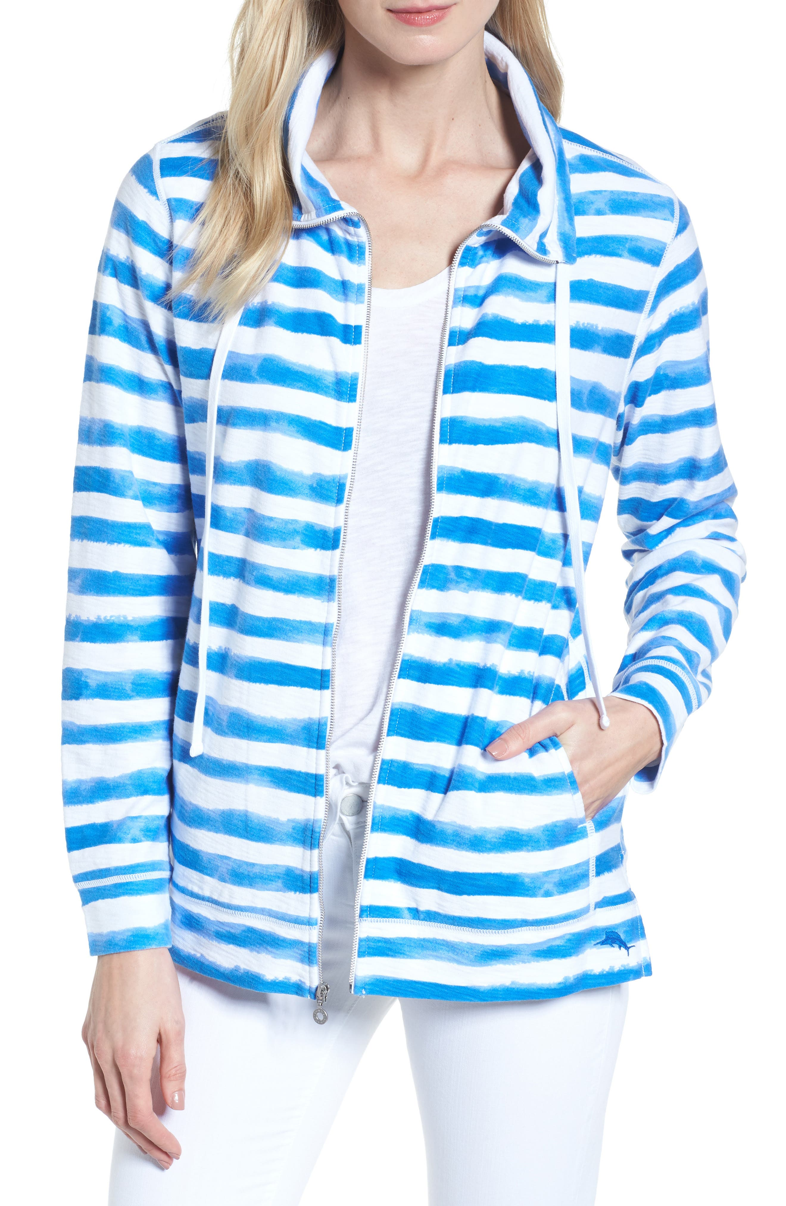 Knoll Bellarossa Stripe Front Zip Jacket,                         Main,                         color, COBALT