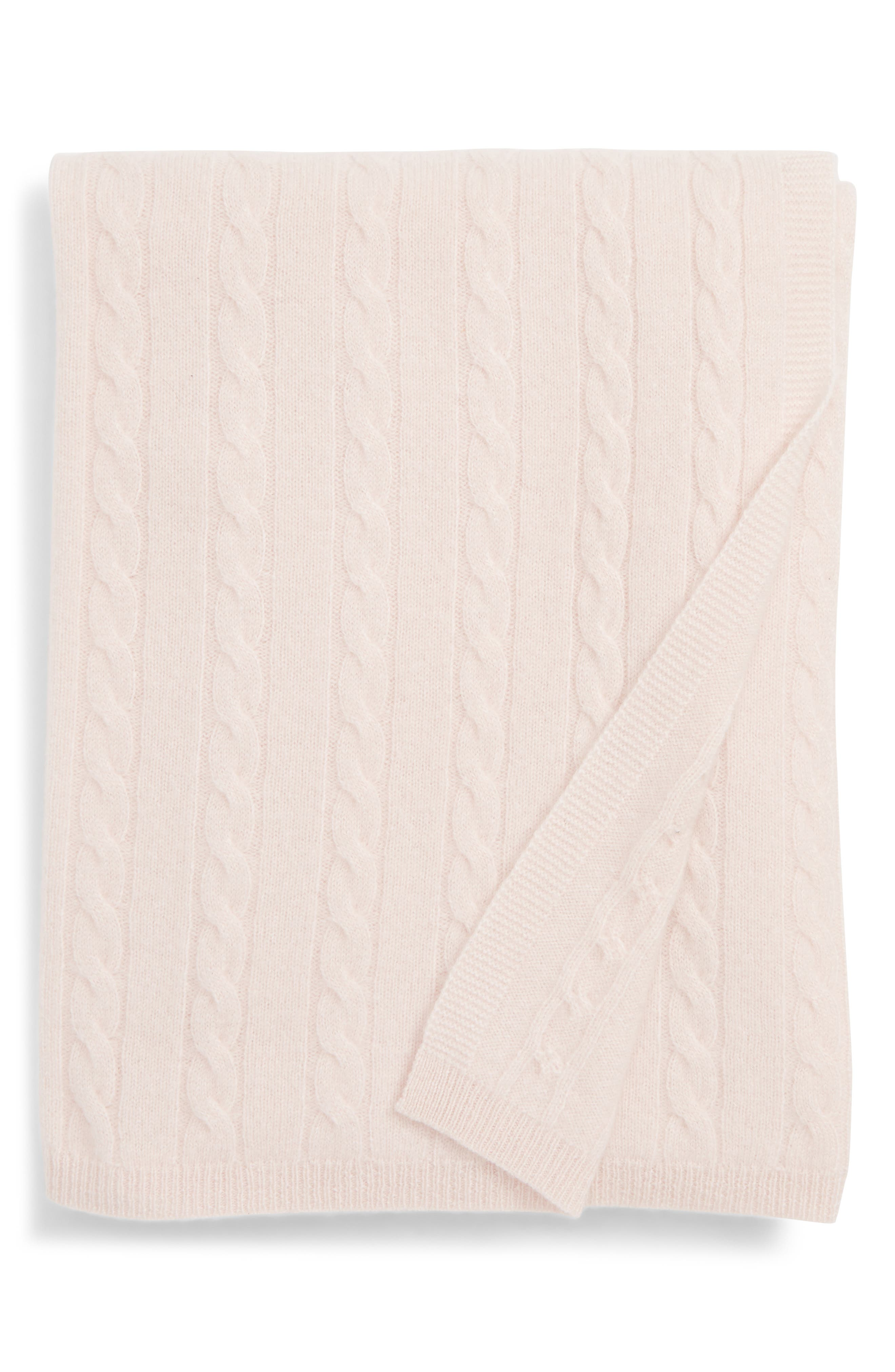 Cashmere Cable Knit Blanket,                             Main thumbnail 1, color,                             PINK DREAM