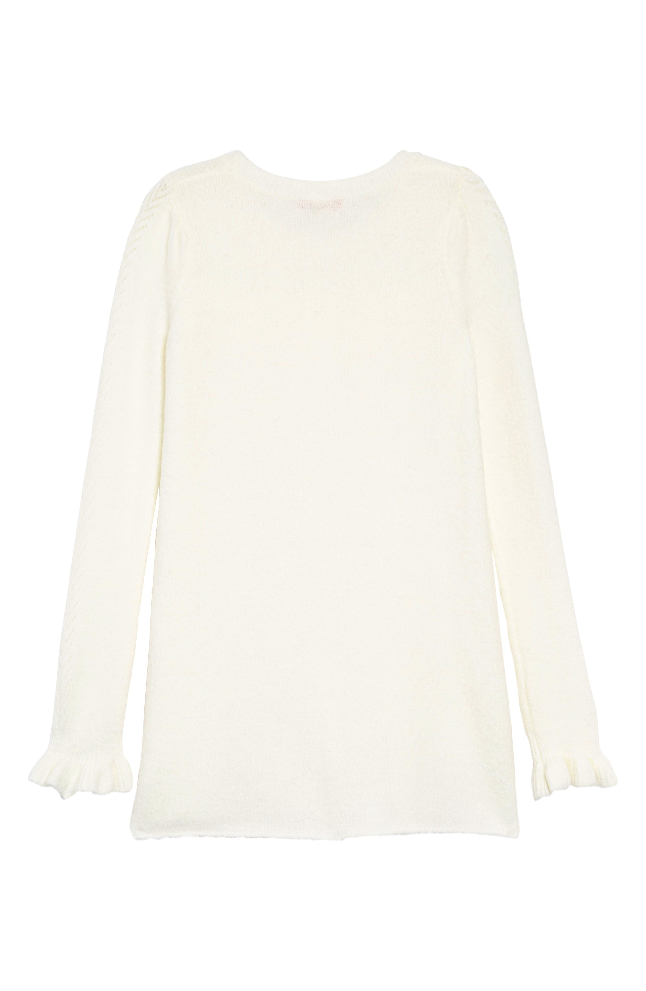 Pointelle Sweater Dress,                             Alternate thumbnail 2, color,                             IVORY EGRET