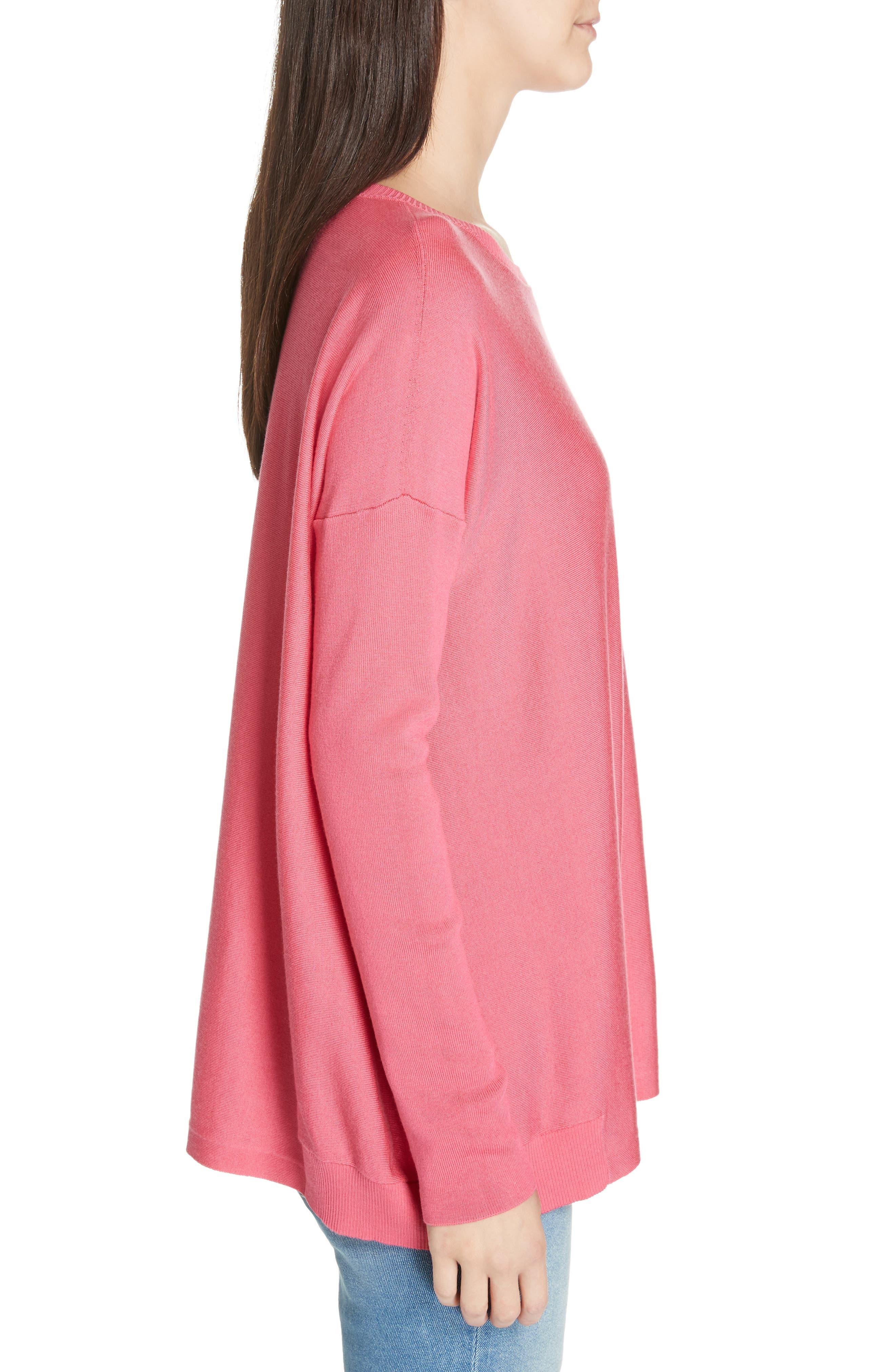 Tencel<sup>®</sup> Lyocell Blend Sweater,                             Alternate thumbnail 3, color,                             CHERRY LANE