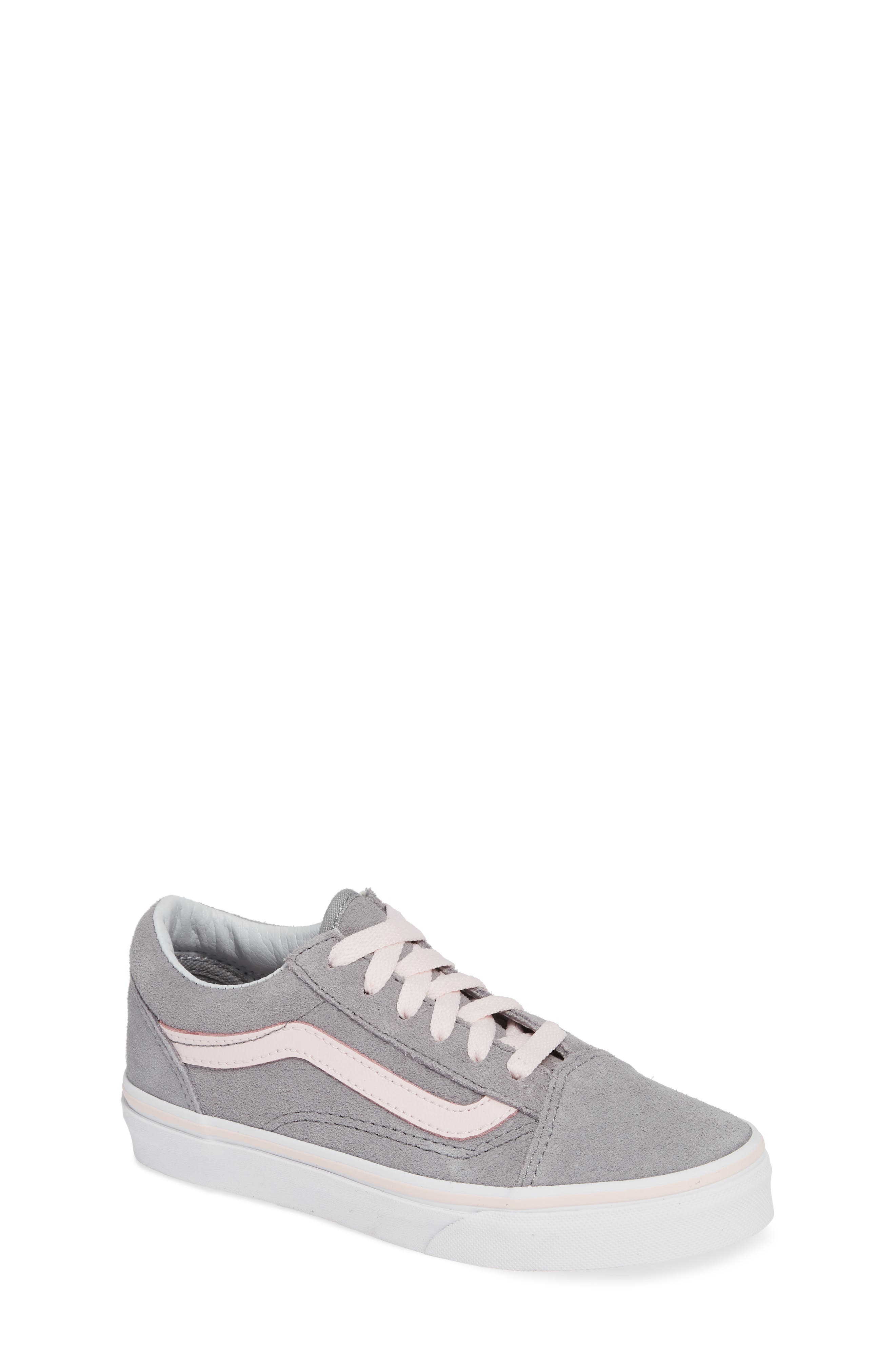 Old Skool Sneaker,                         Main,                         color, SUEDE ALLOY/ PINK/ TRUE WHITE