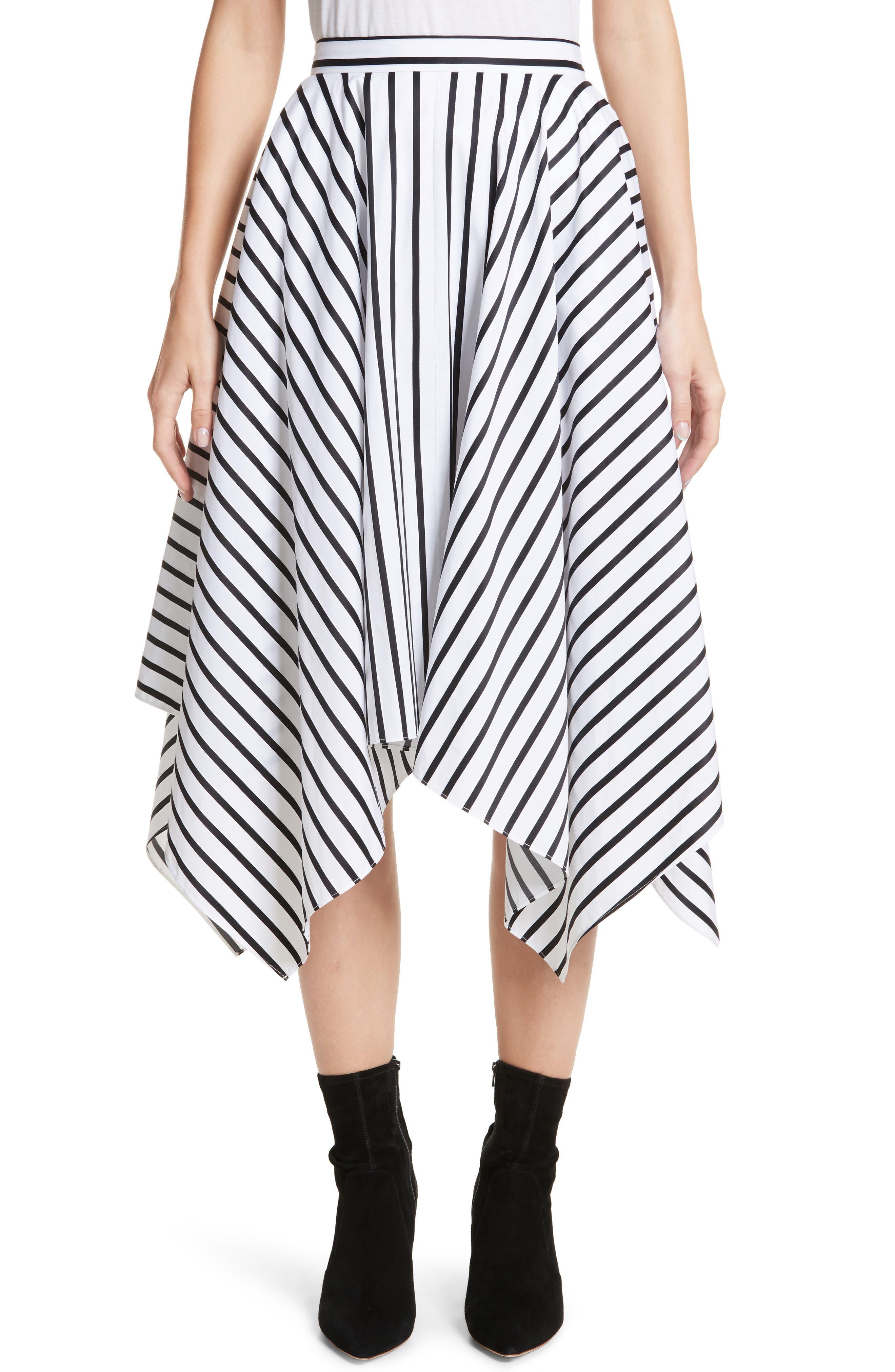 Stripe Cotton Asymmetrical Skirt,                             Main thumbnail 1, color,                             001