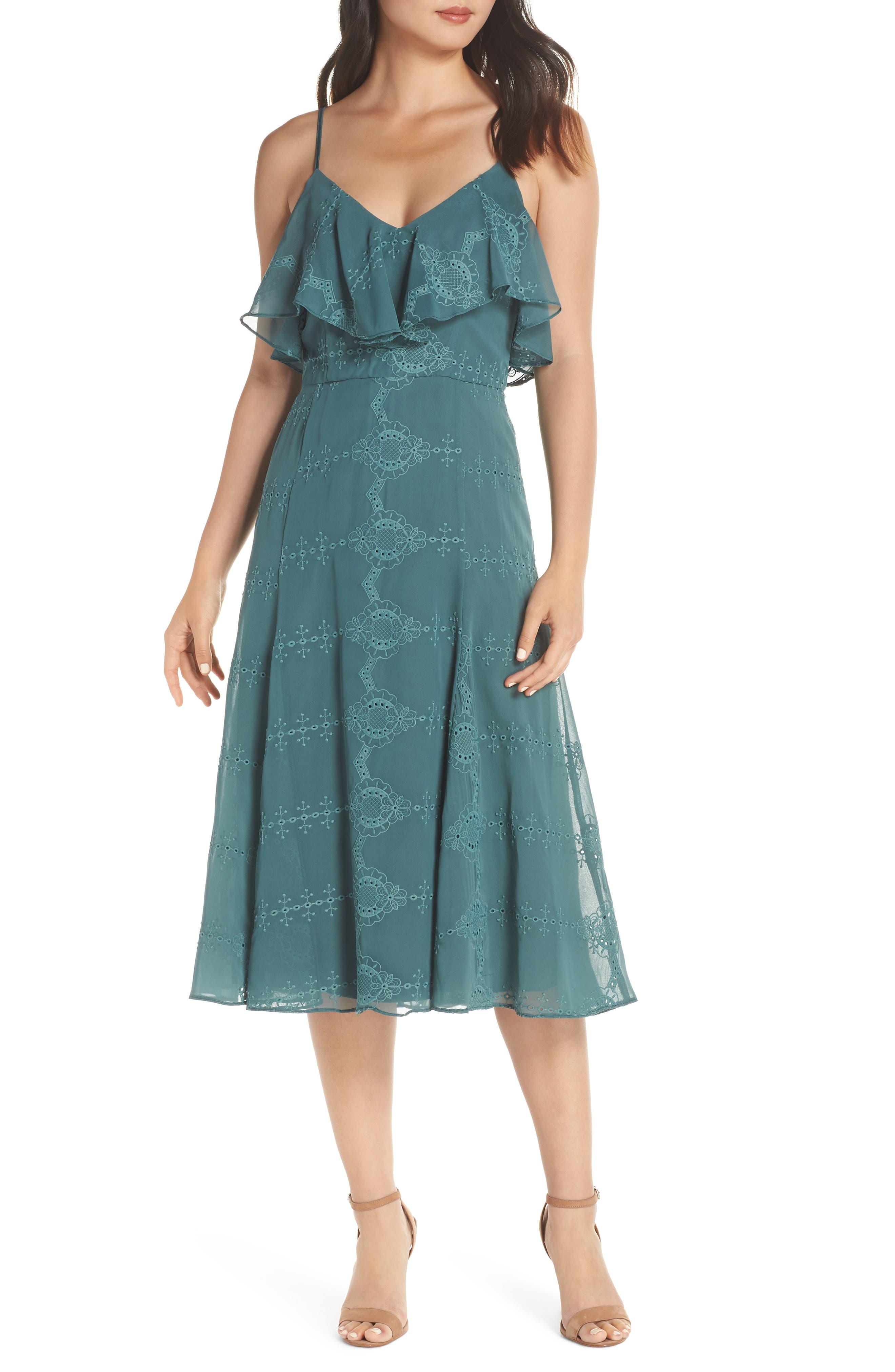 Cooper St Fern Frill Midi Dress, Green