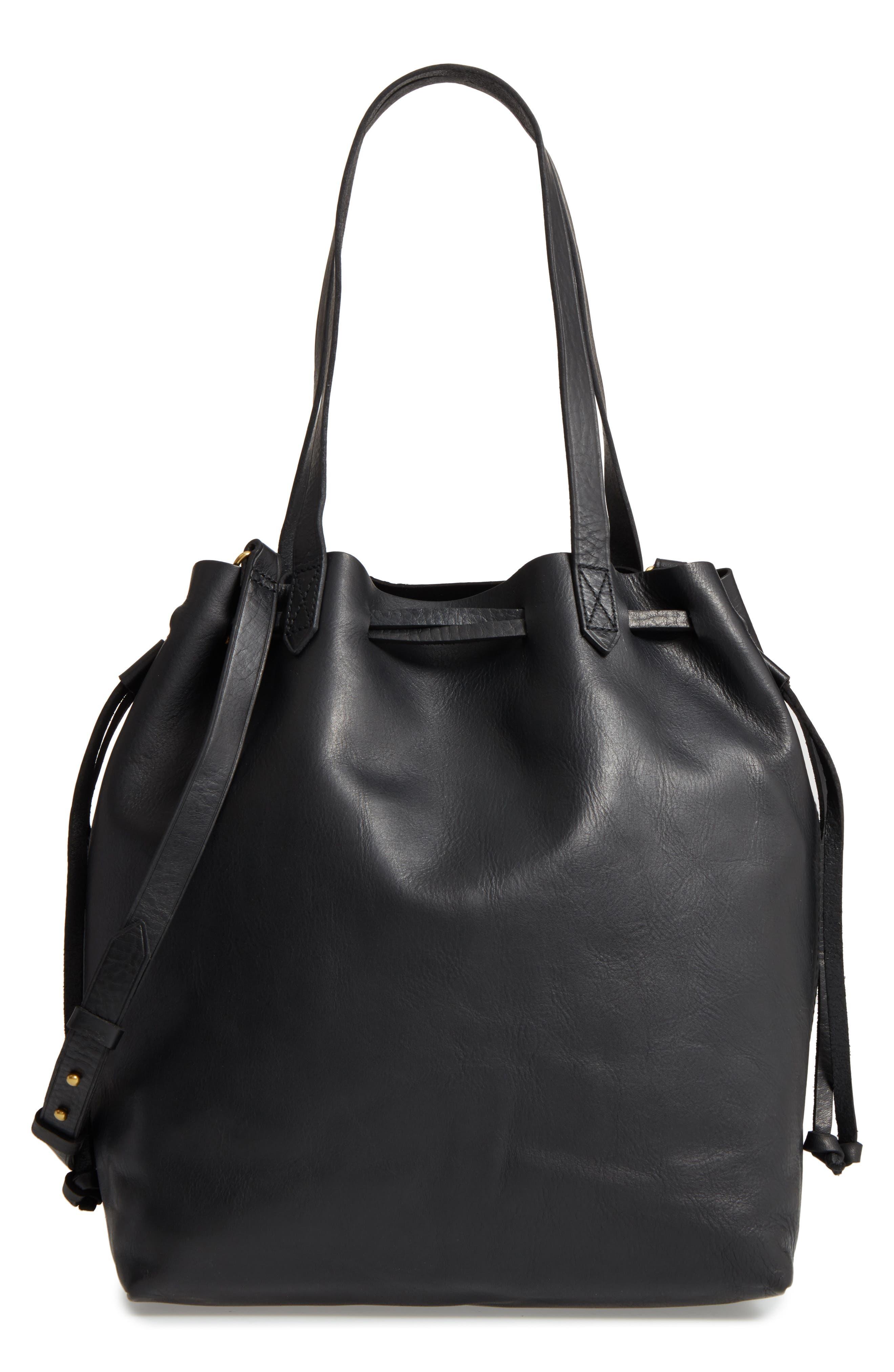 Madewell Medium Drawstring Transport Leather Tote - Black 659cb24f68f21