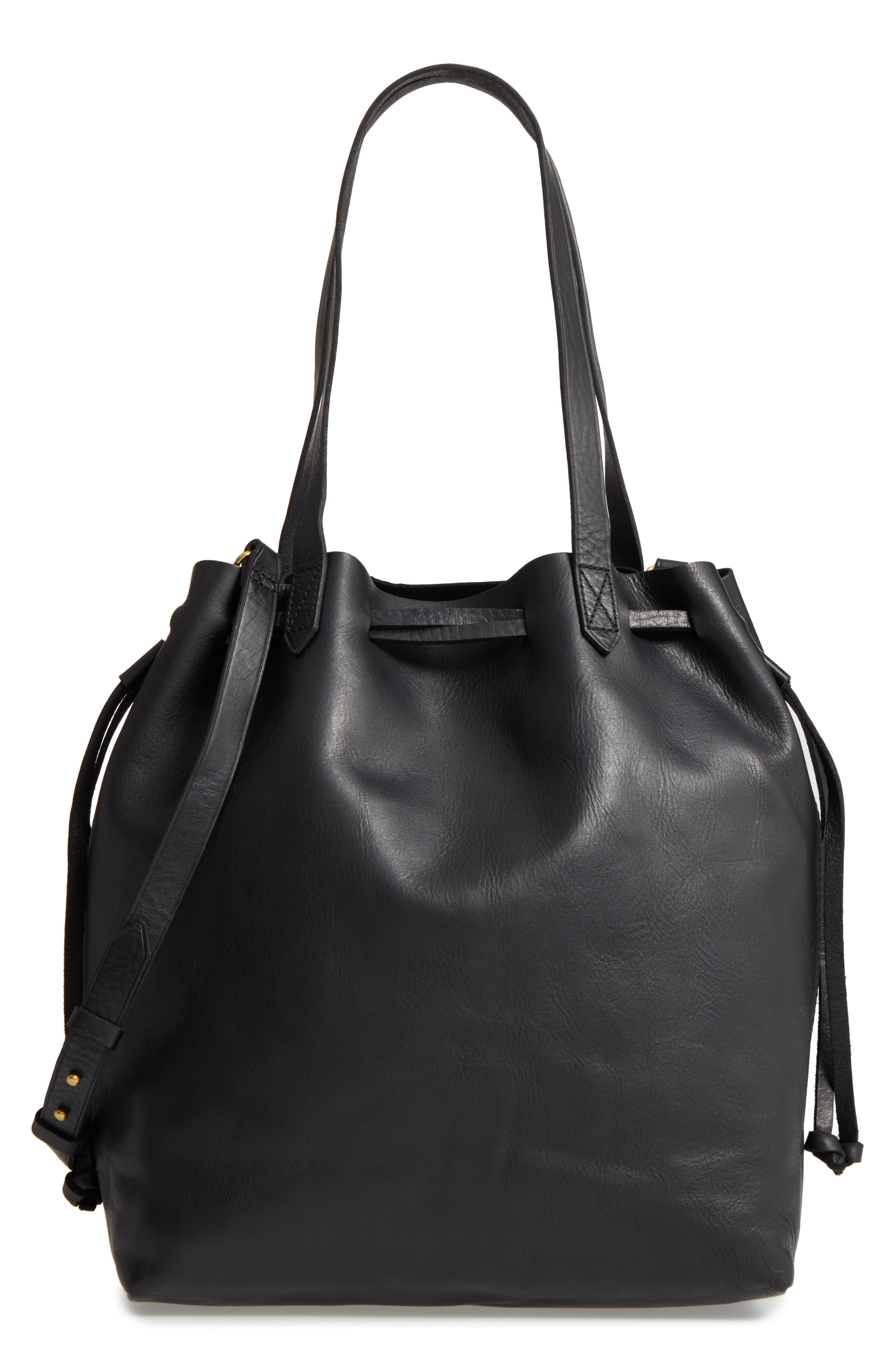 Medium Drawstring Transport Leather Tote,                         Main,                         color, TRUE BLACK