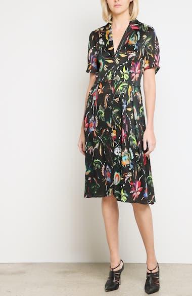 Alternate Video 7  - Jason Wu Floral Print Plissé Silk Crepon Dress