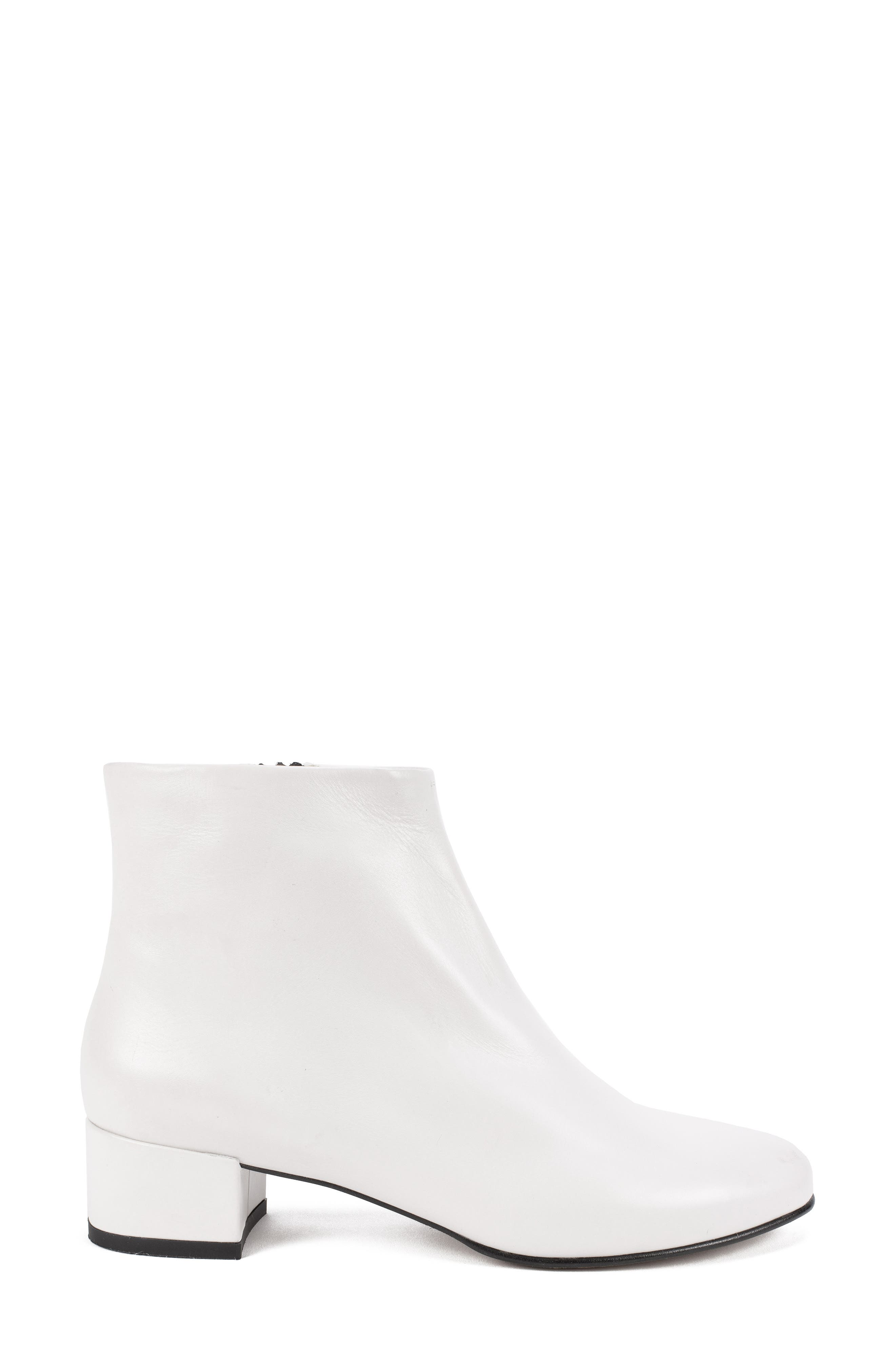 by White Mountain Jordie Block Heel Bootie,                             Alternate thumbnail 3, color,                             WHITE LEATHER