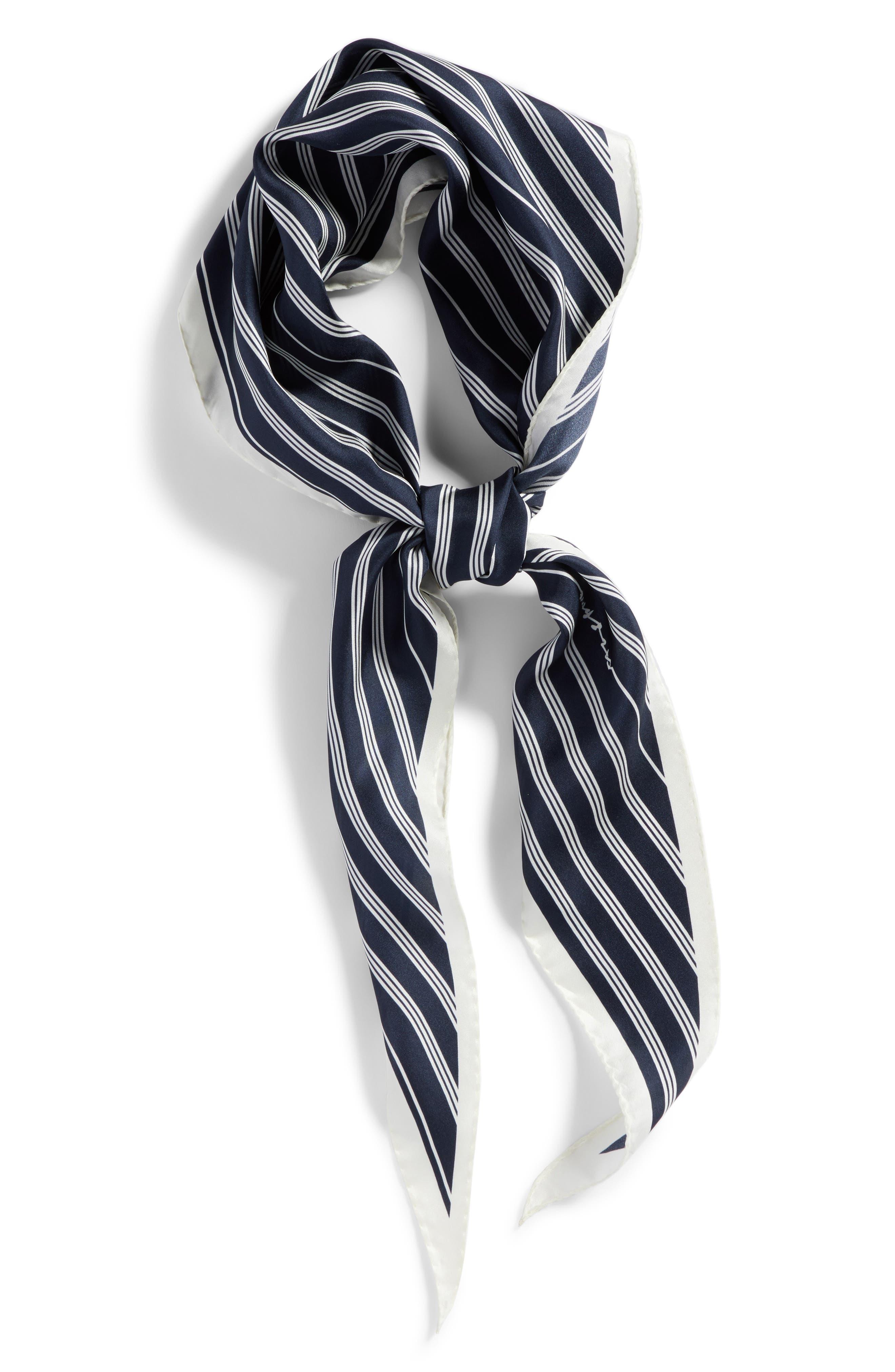 Narrow Stripe Silk Scarf,                             Alternate thumbnail 4, color,