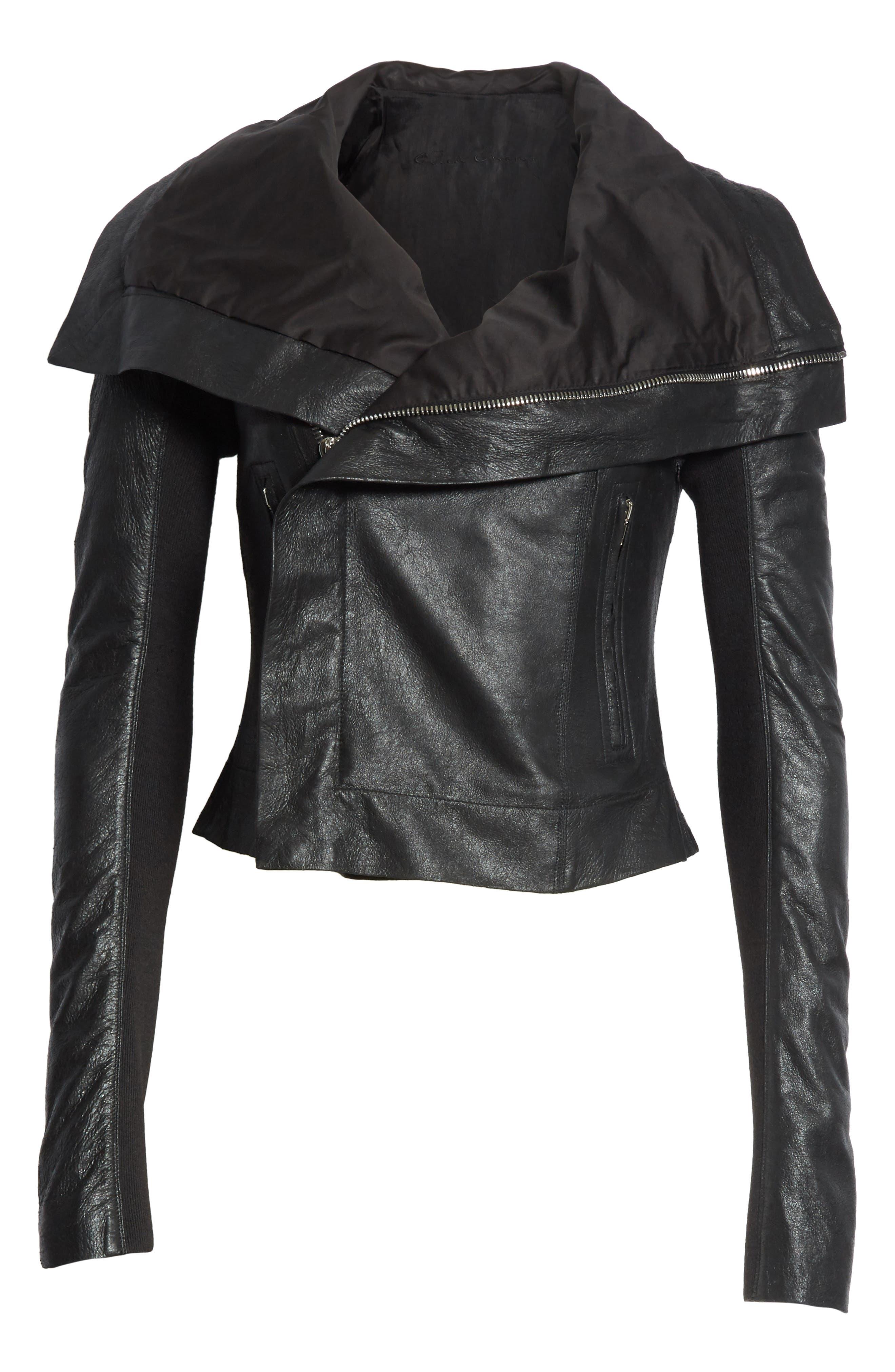 Classic Leather Biker Jacket,                             Alternate thumbnail 5, color,                             001