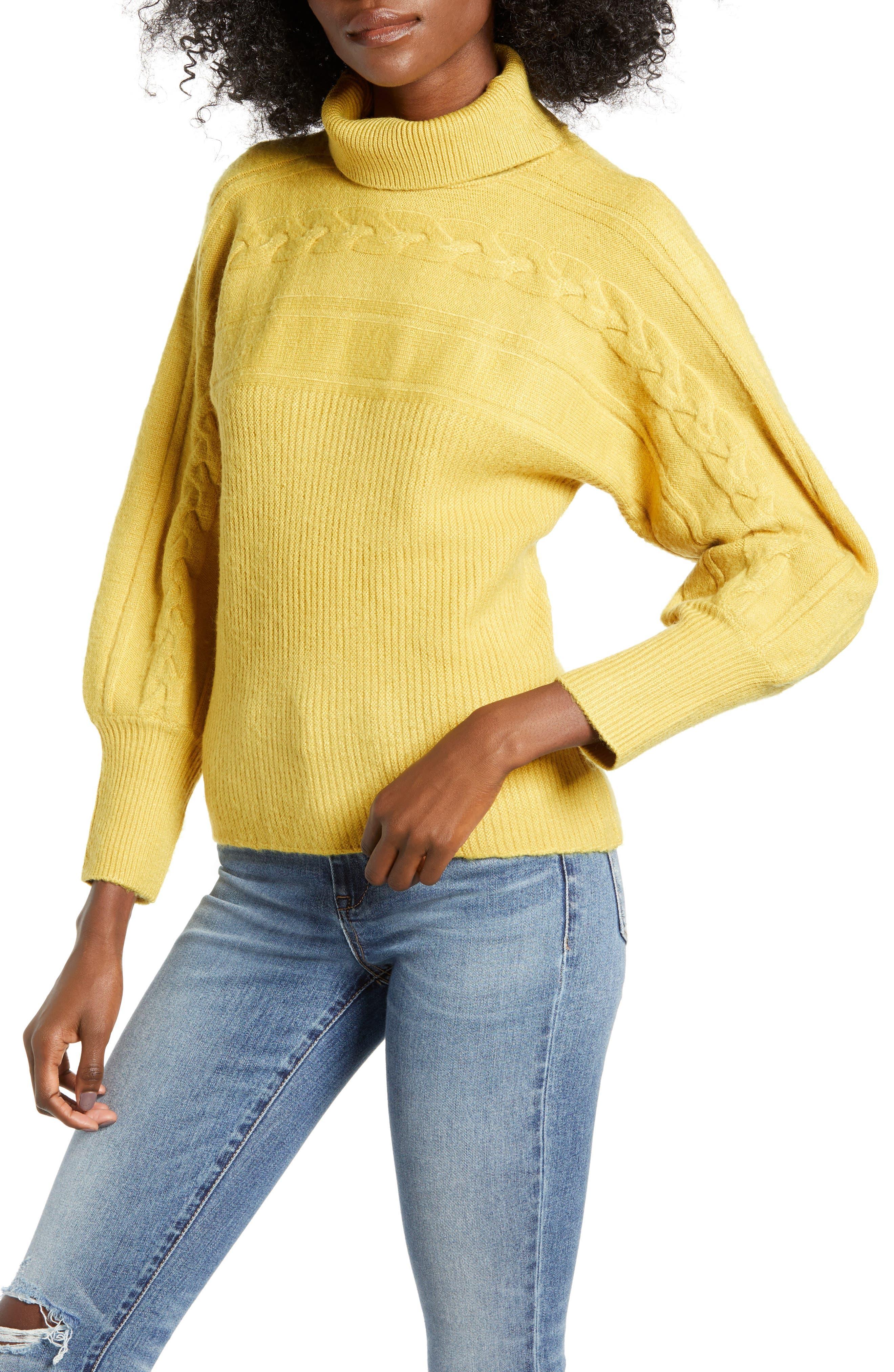 JOA Bishop Sleeve Turtleneck Sweater in Marigold