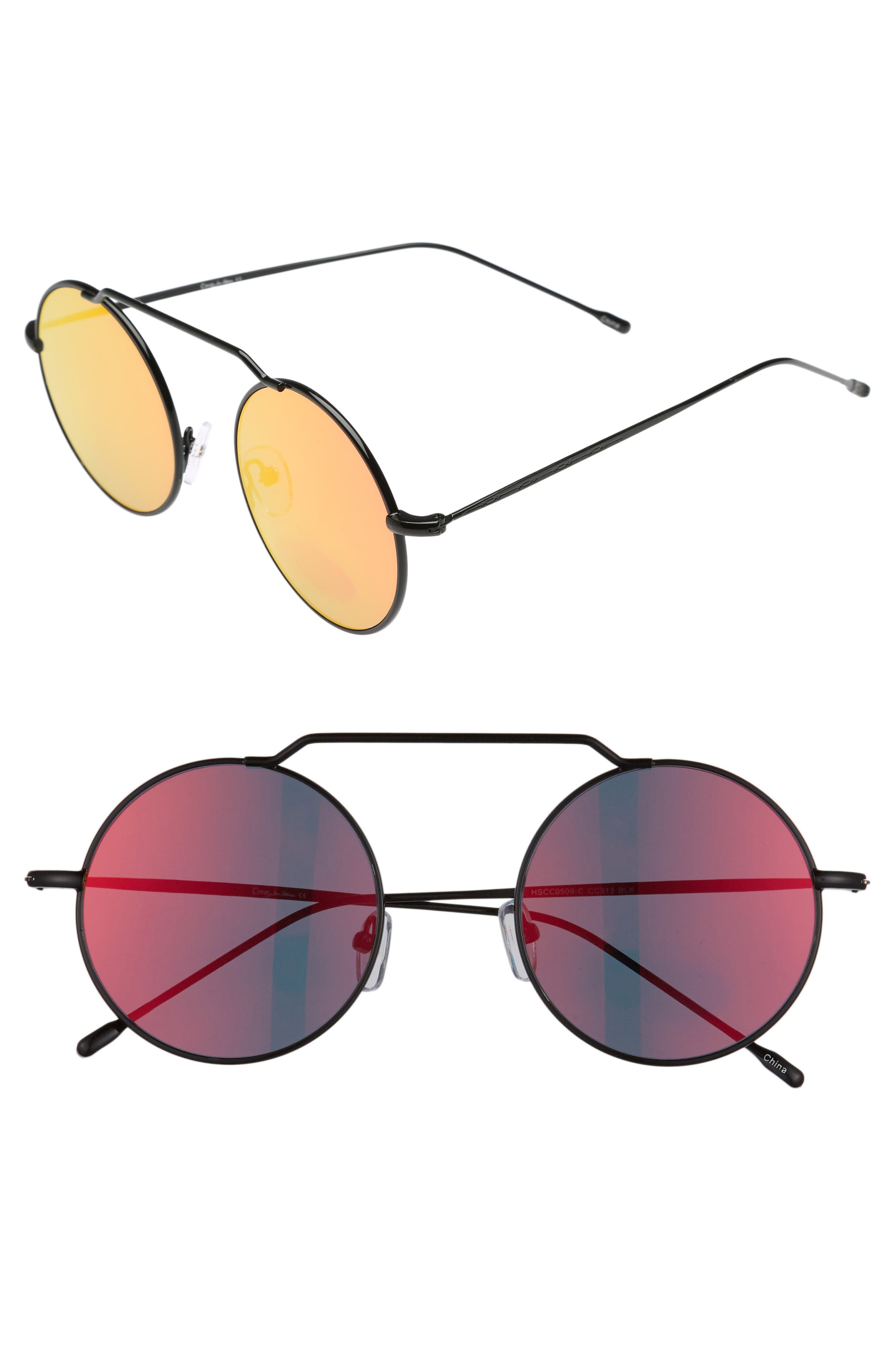 51mm Brow Bar Round Sunglasses,                         Main,                         color, 001