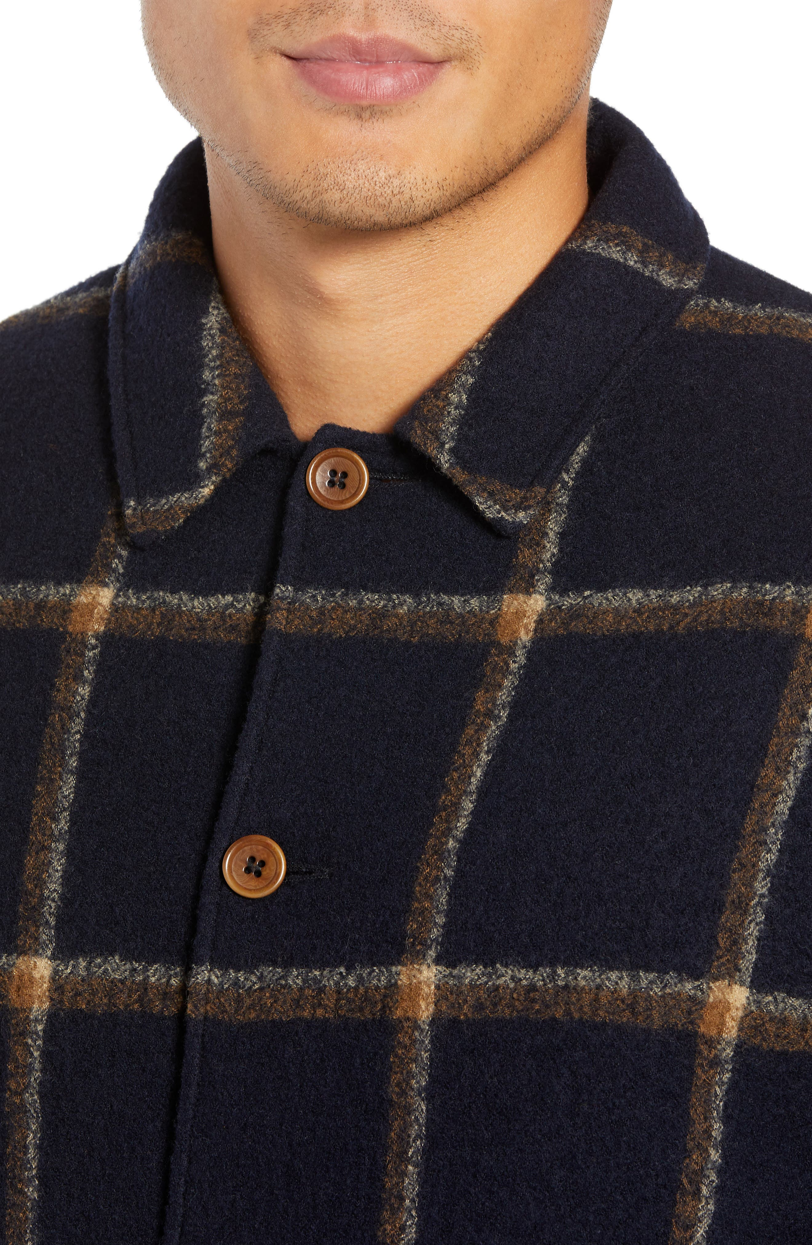 Regular Fit Faux Shearling Lined Check Wool Groundhog Jacket,                             Alternate thumbnail 4, color,                             NAVY