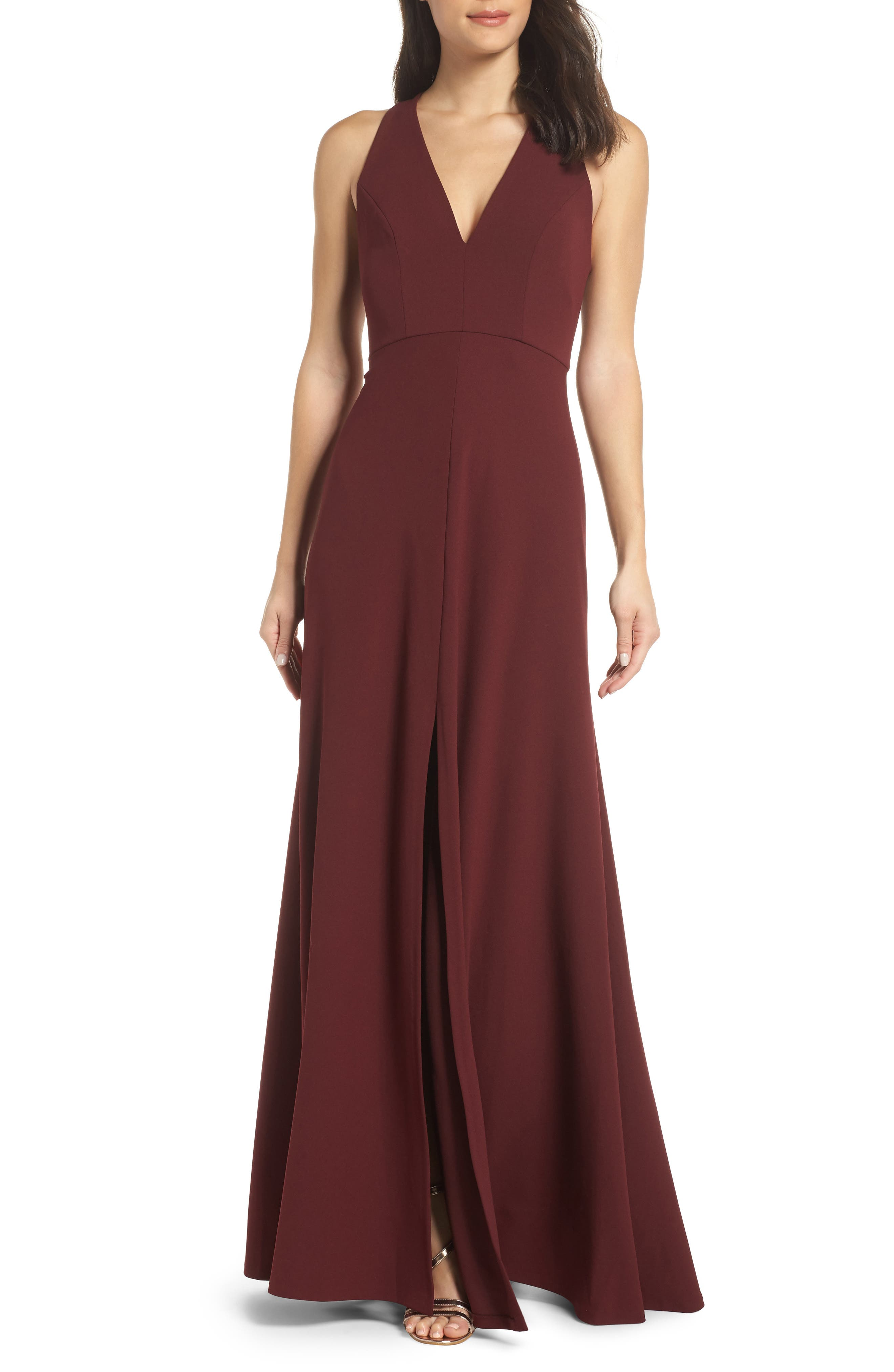 Jenny Yoo Margot V-Neck Knit Crepe Gown, Red