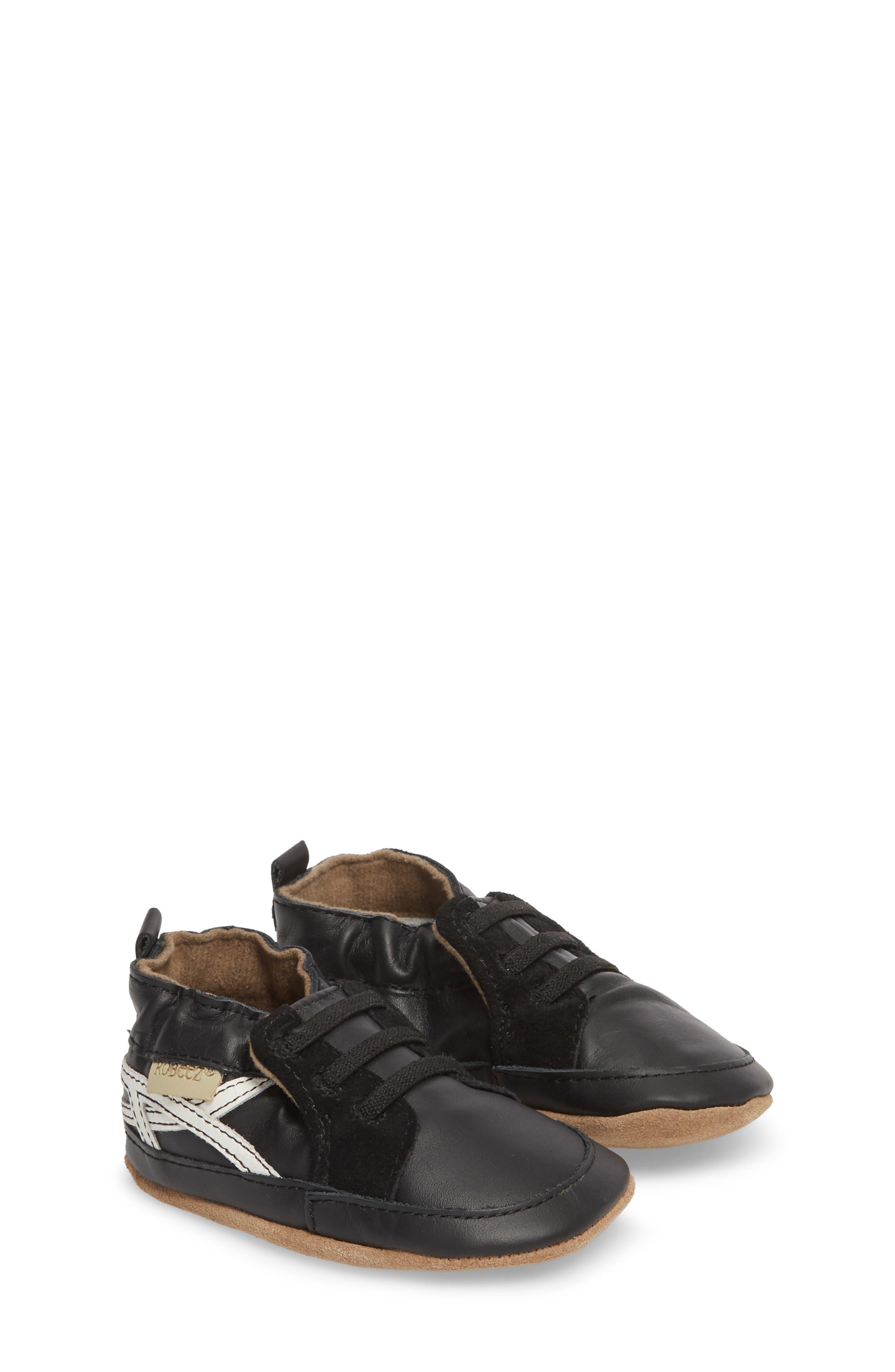 Super Sporty Sneaker Crib Shoe,                             Main thumbnail 1, color,                             BLACK