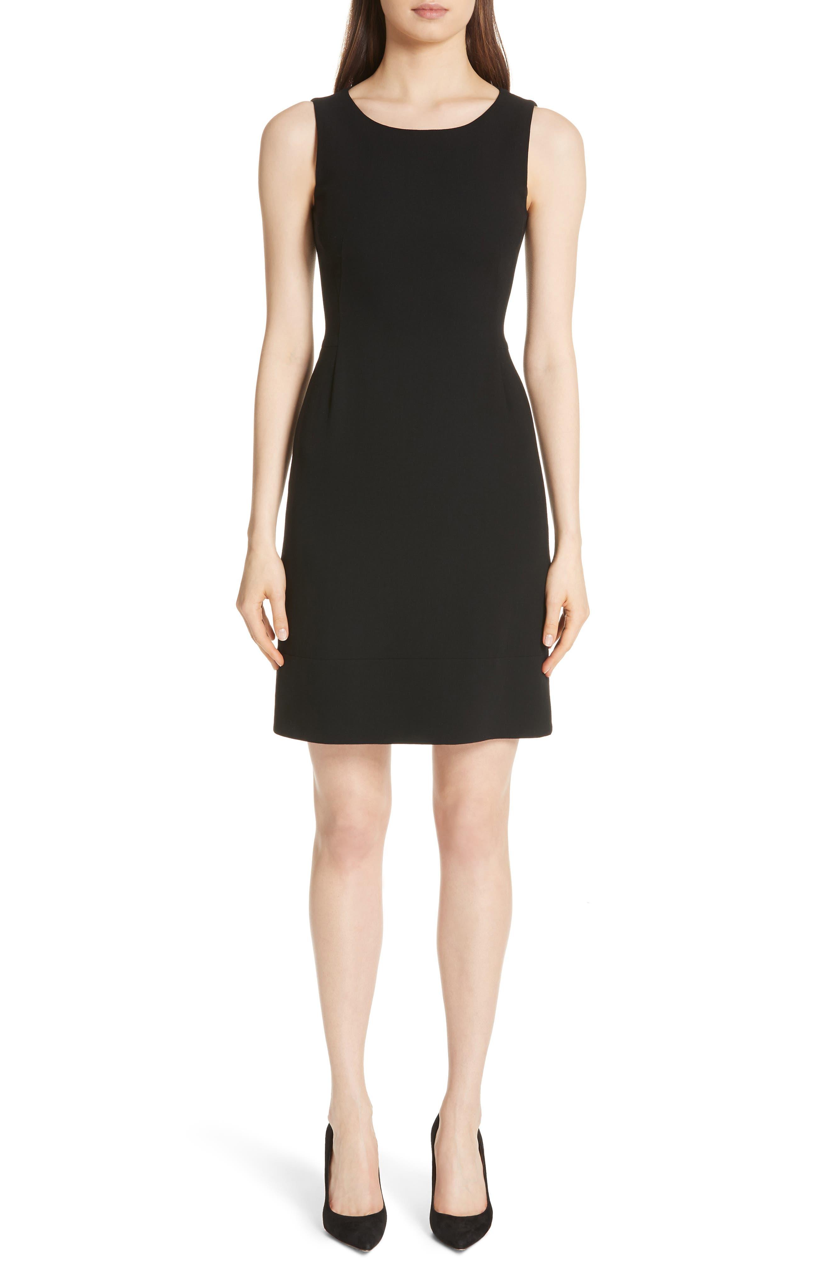 Double Face Wool Blend Dress,                         Main,                         color, BLACK
