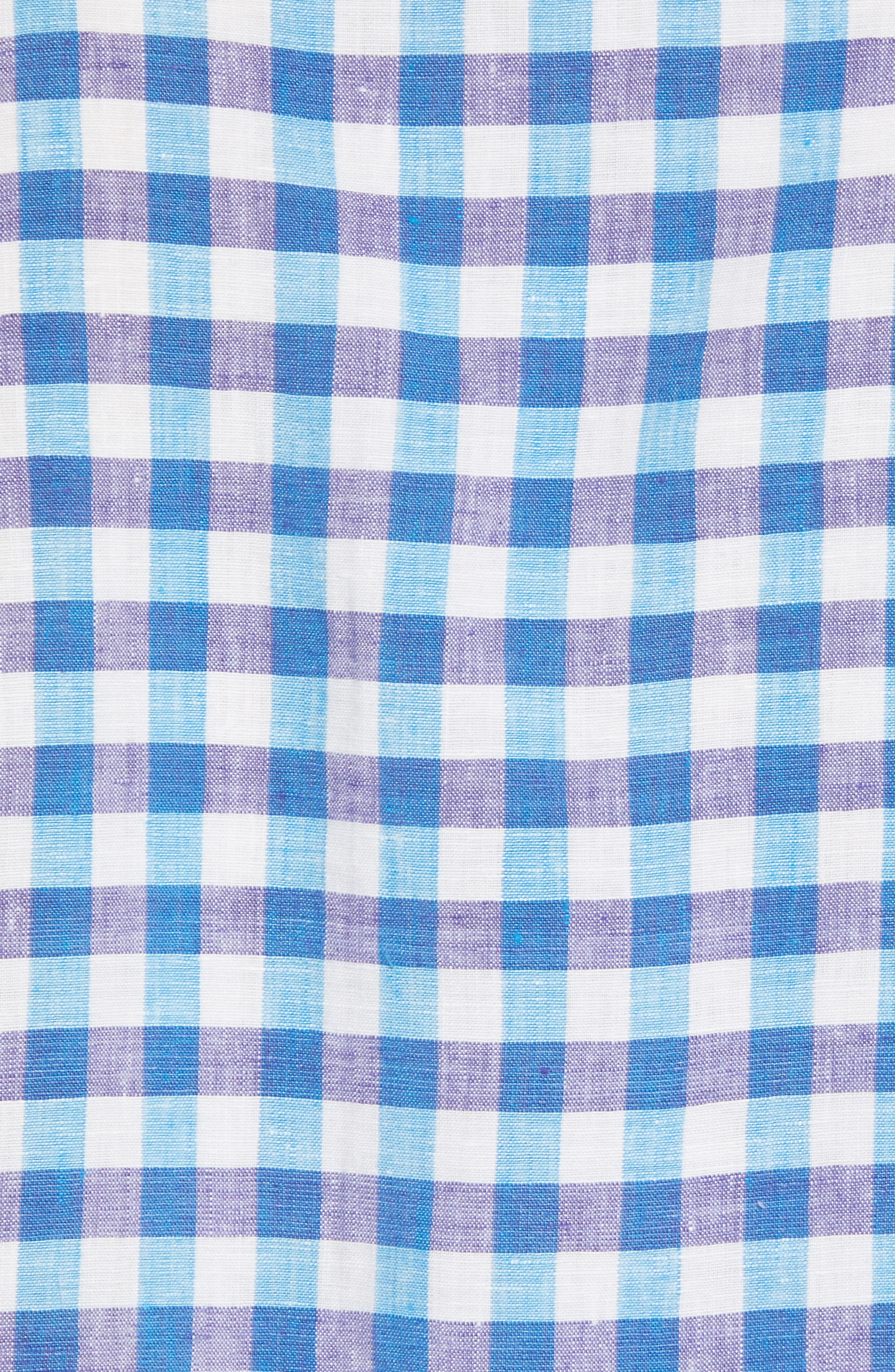 Gingham Del Toro Linen Blend Sport Shirt,                             Alternate thumbnail 9, color,